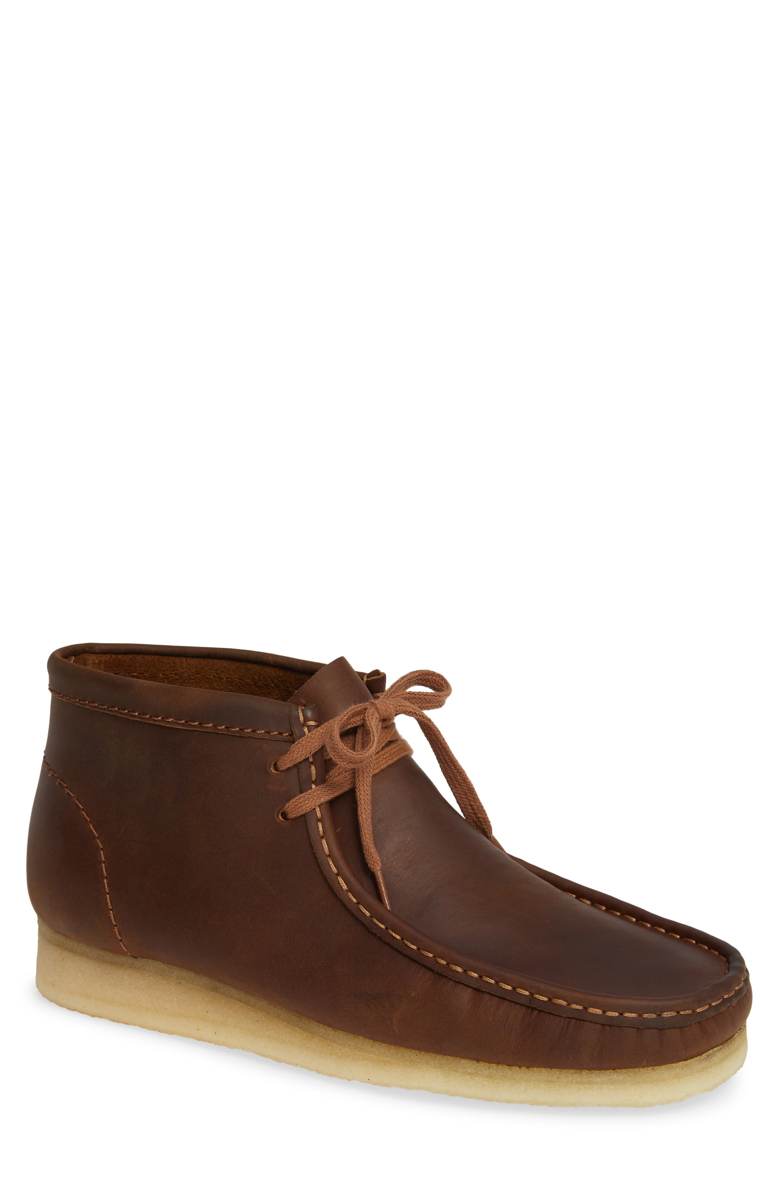 Wallabee Boot,                         Main,                         color, BROWN LEATHER