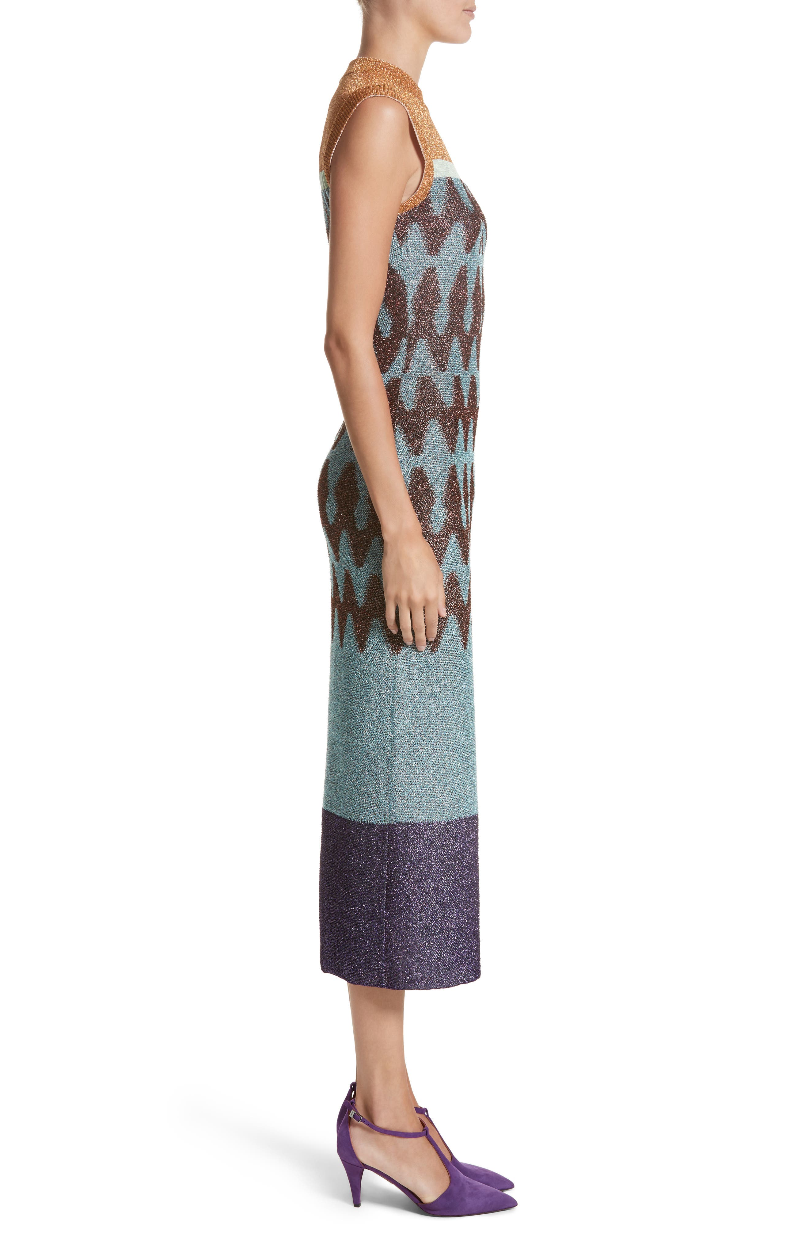 Colorblock Metallic Knit Midi Dress,                             Alternate thumbnail 3, color,