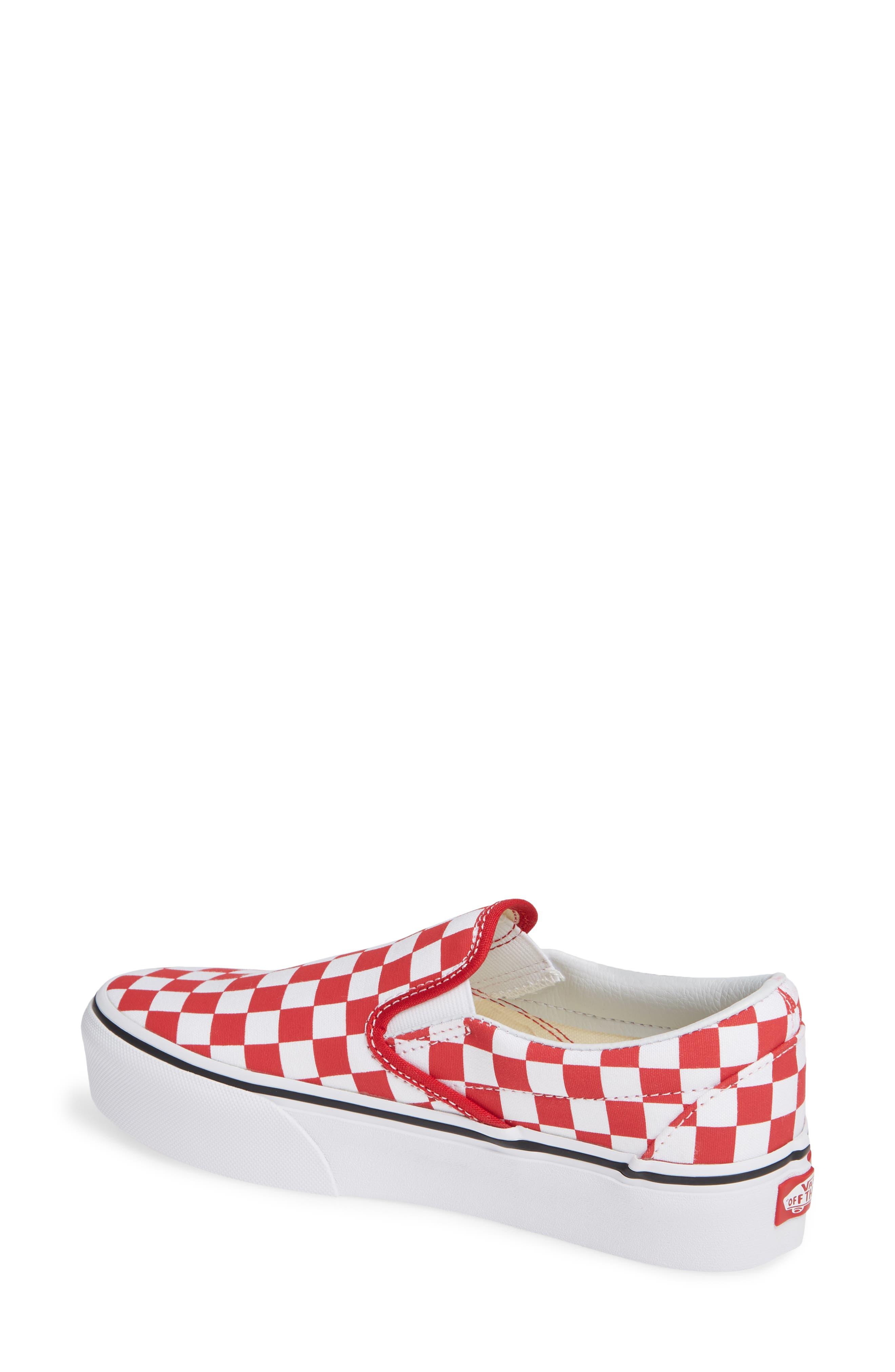 Platform Slip-On Sneaker,                             Alternate thumbnail 2, color,                             RACING RED/ TRUE WHITE