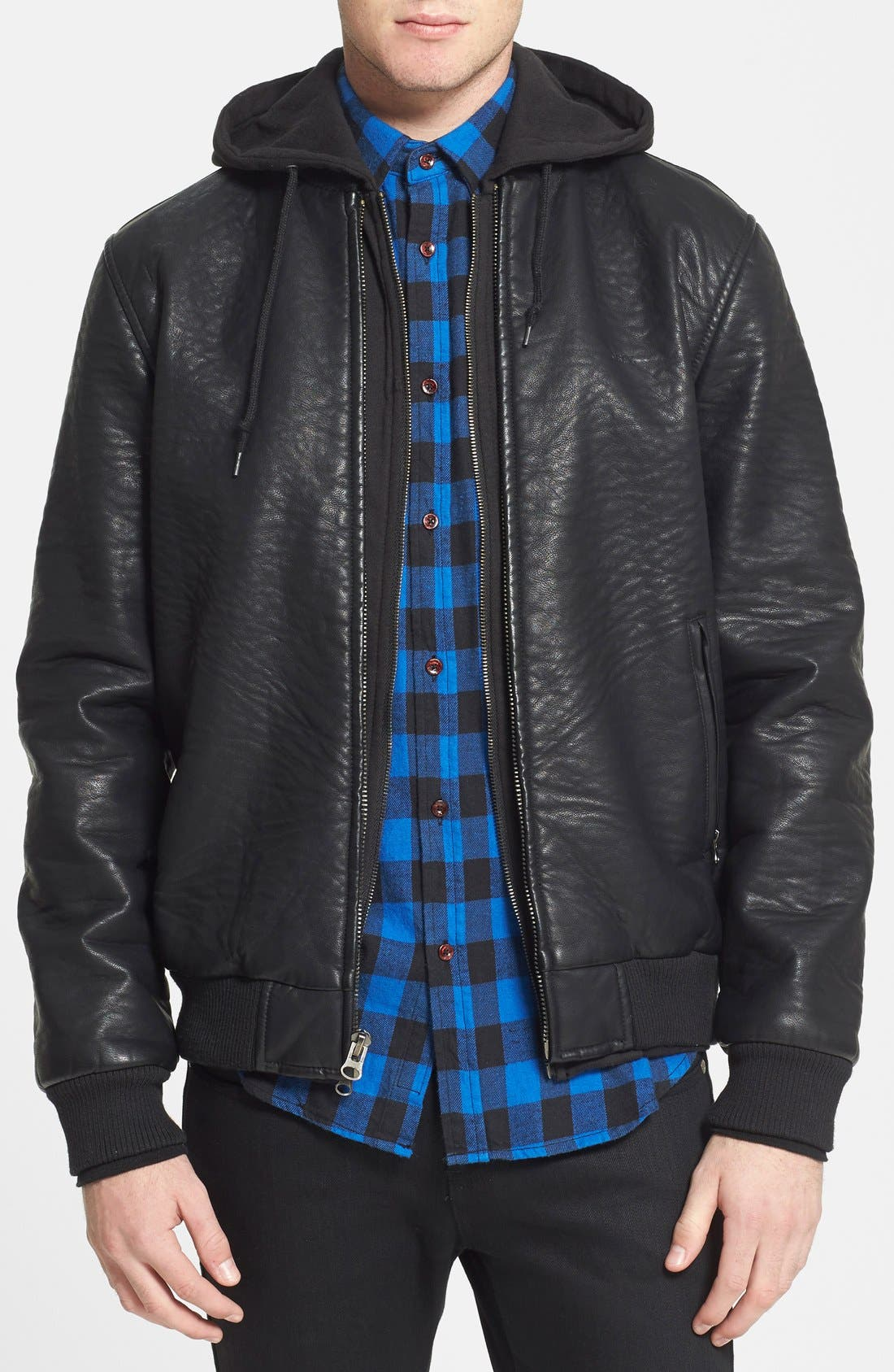Faux Leather Hooded Bomber Jacket, Main, color, 001