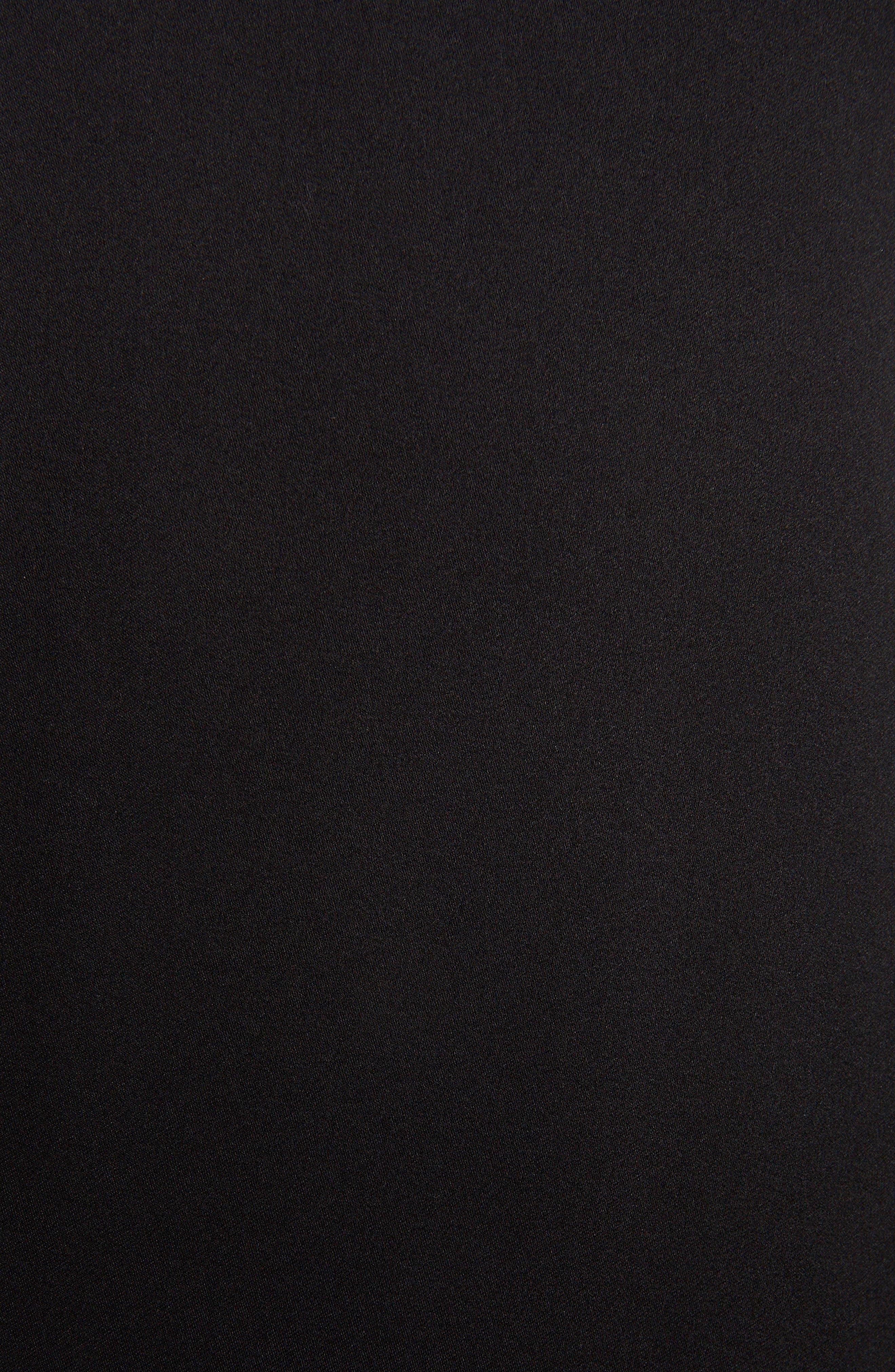 Fringe Trim Silk Skirt,                             Alternate thumbnail 5, color,                             BLACK