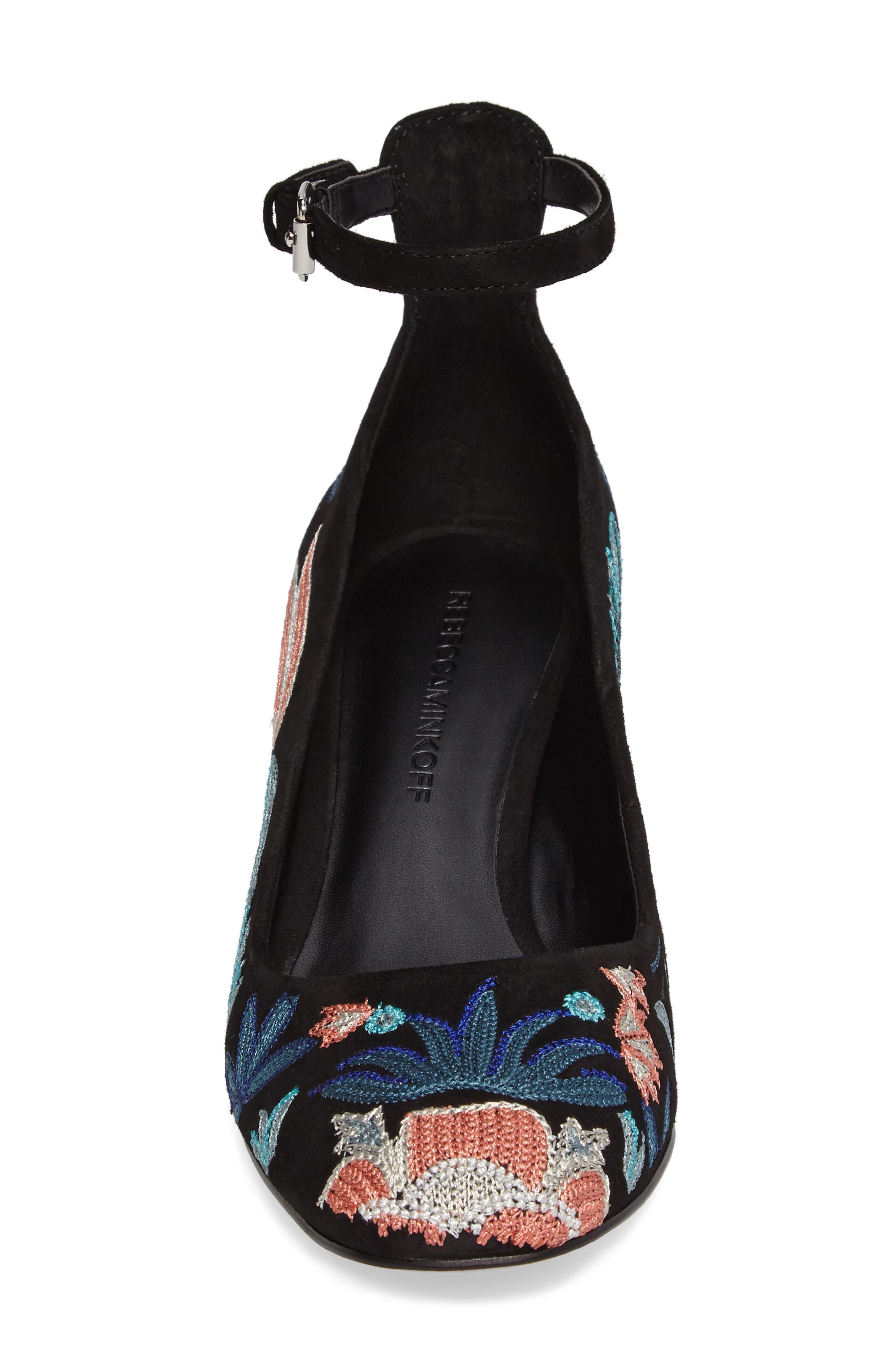 Bridget Floral Ankle Strap Pump,                             Alternate thumbnail 4, color,                             004