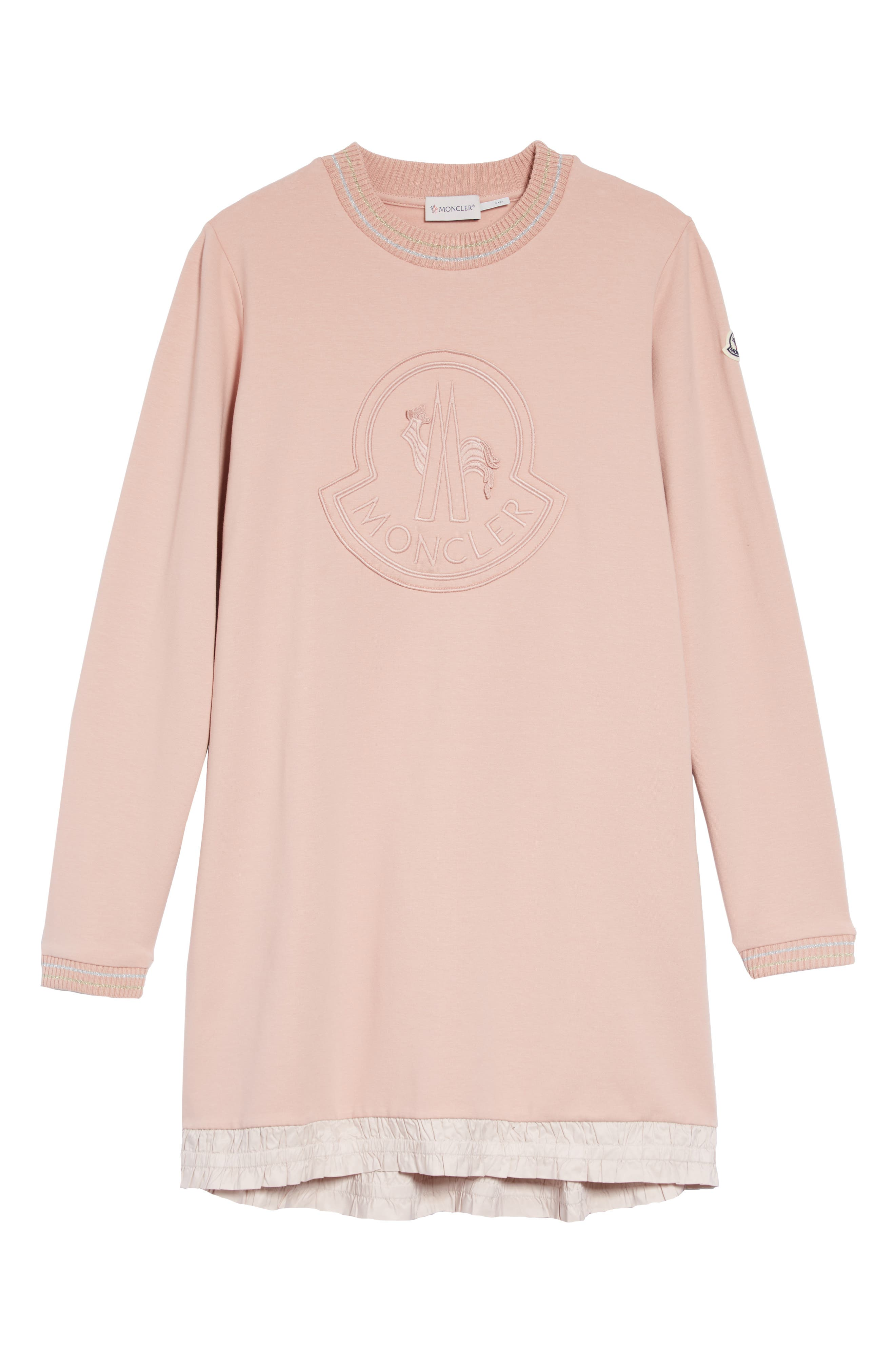 MONCLER,                             Tonal Logo Dress,                             Main thumbnail 1, color,                             LIGHT PINK