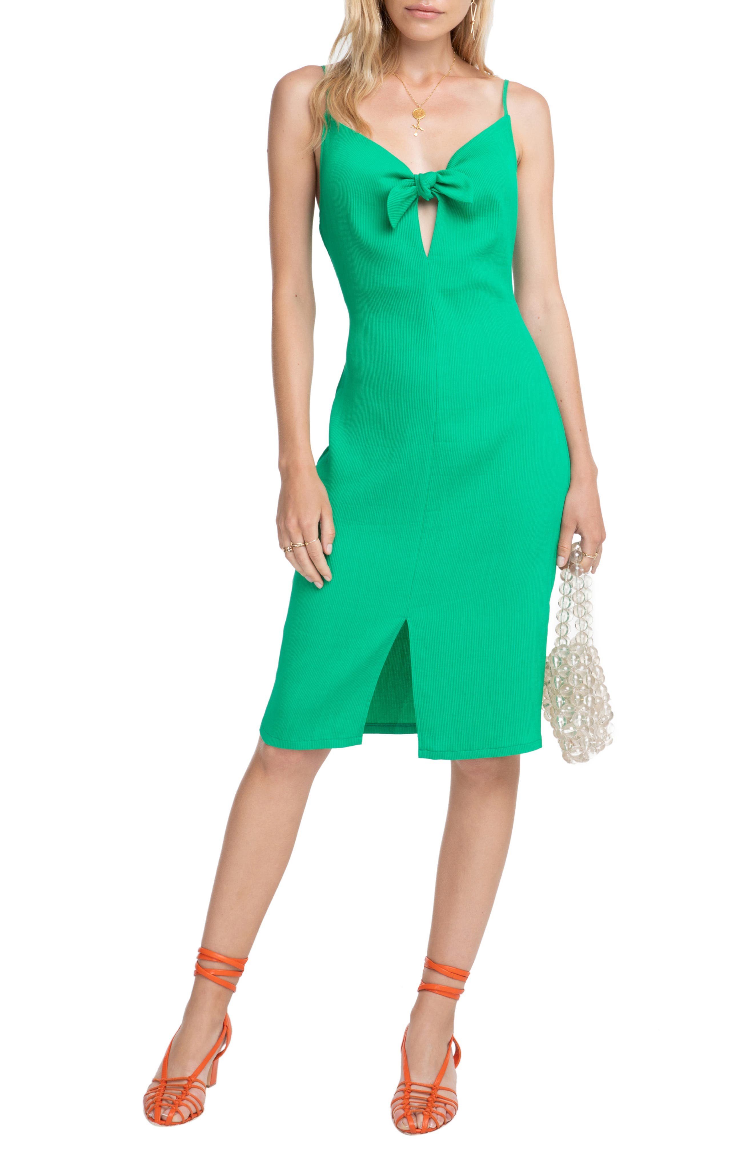 Astr The Label Syd Tie Neck Dress, Green