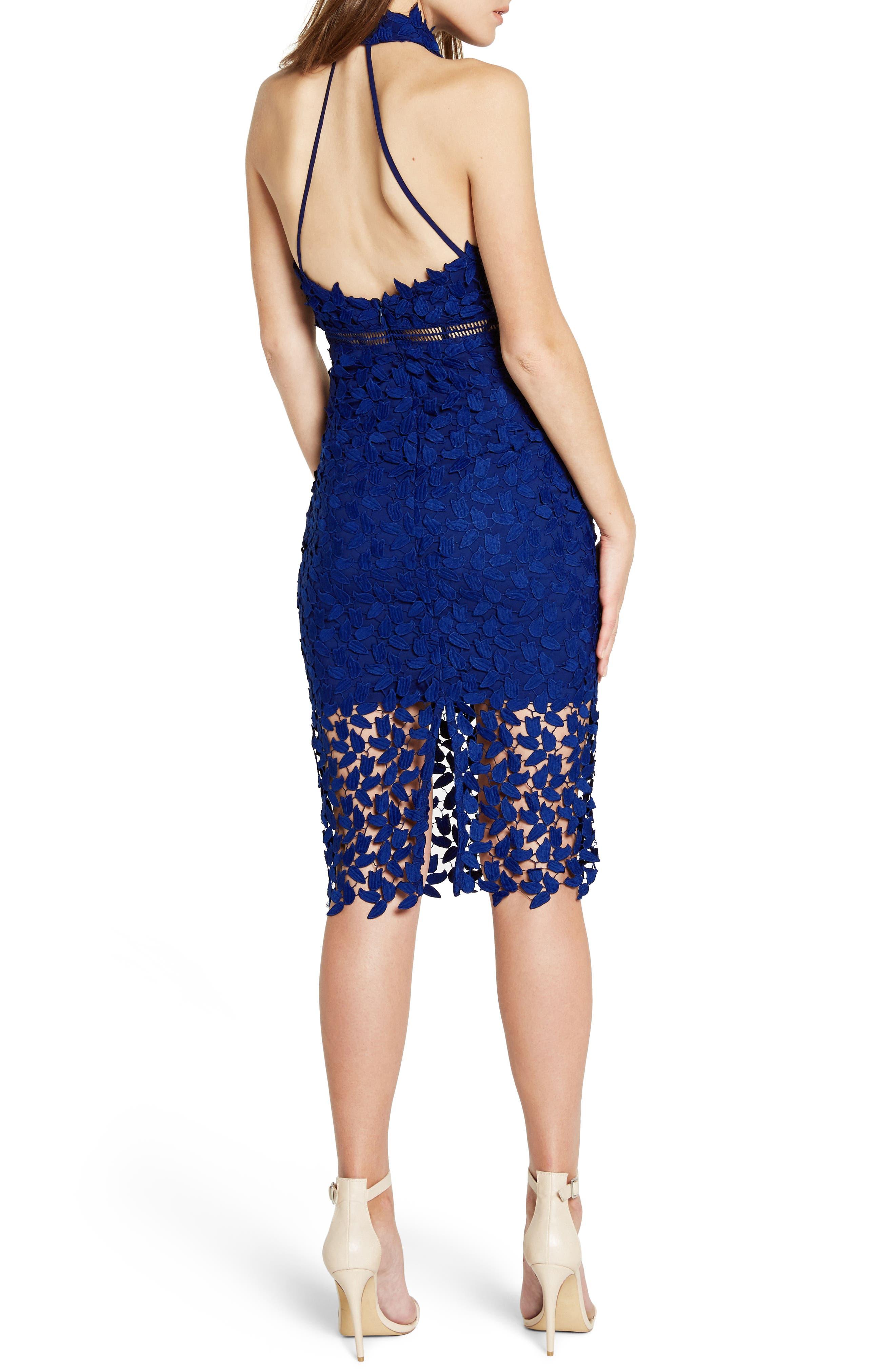 Gemma Halter Lace Sheath Dress,                             Alternate thumbnail 2, color,                             COBALT