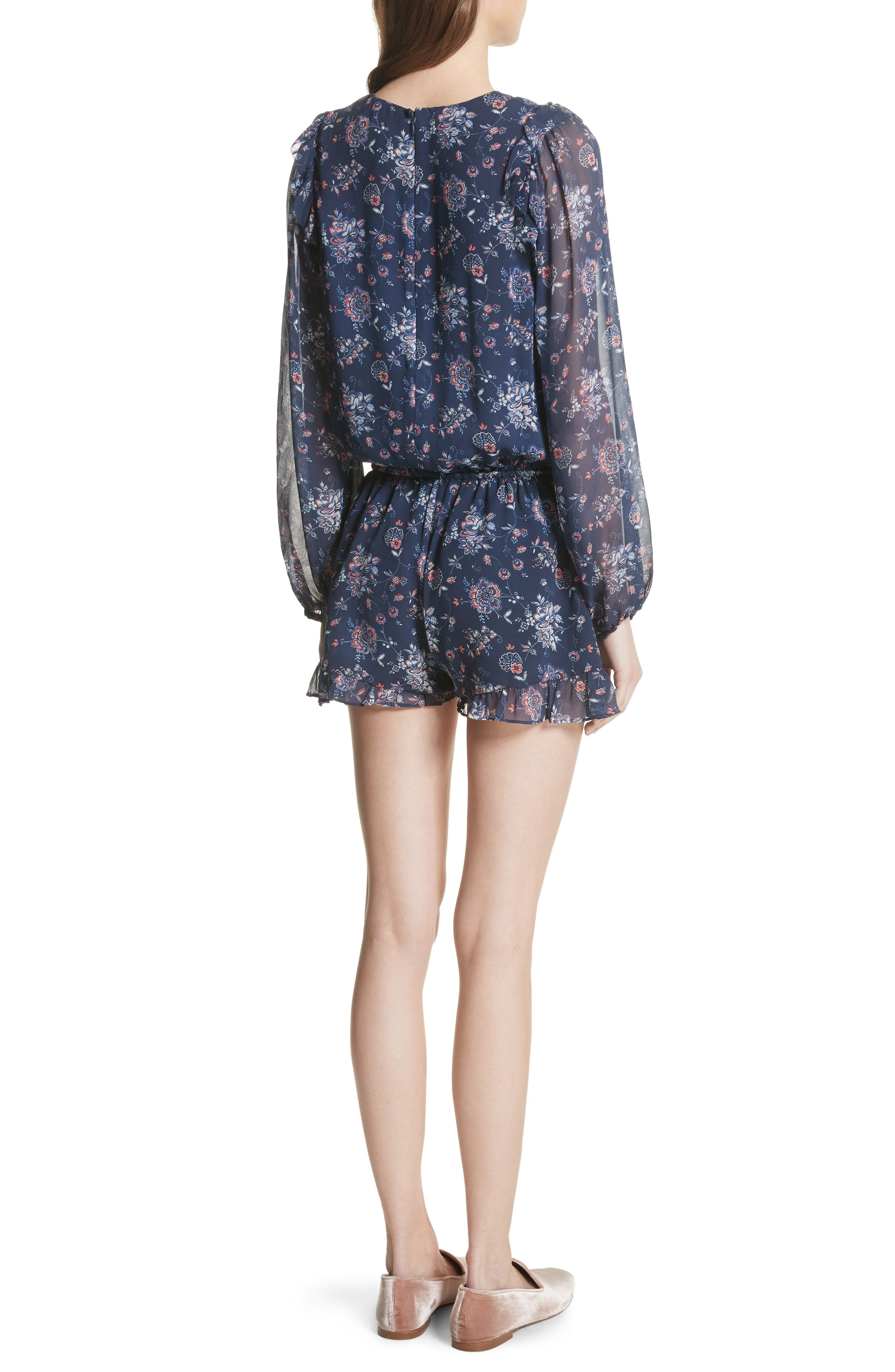 Cherita Floral Silk Romper,                             Alternate thumbnail 2, color,                             418