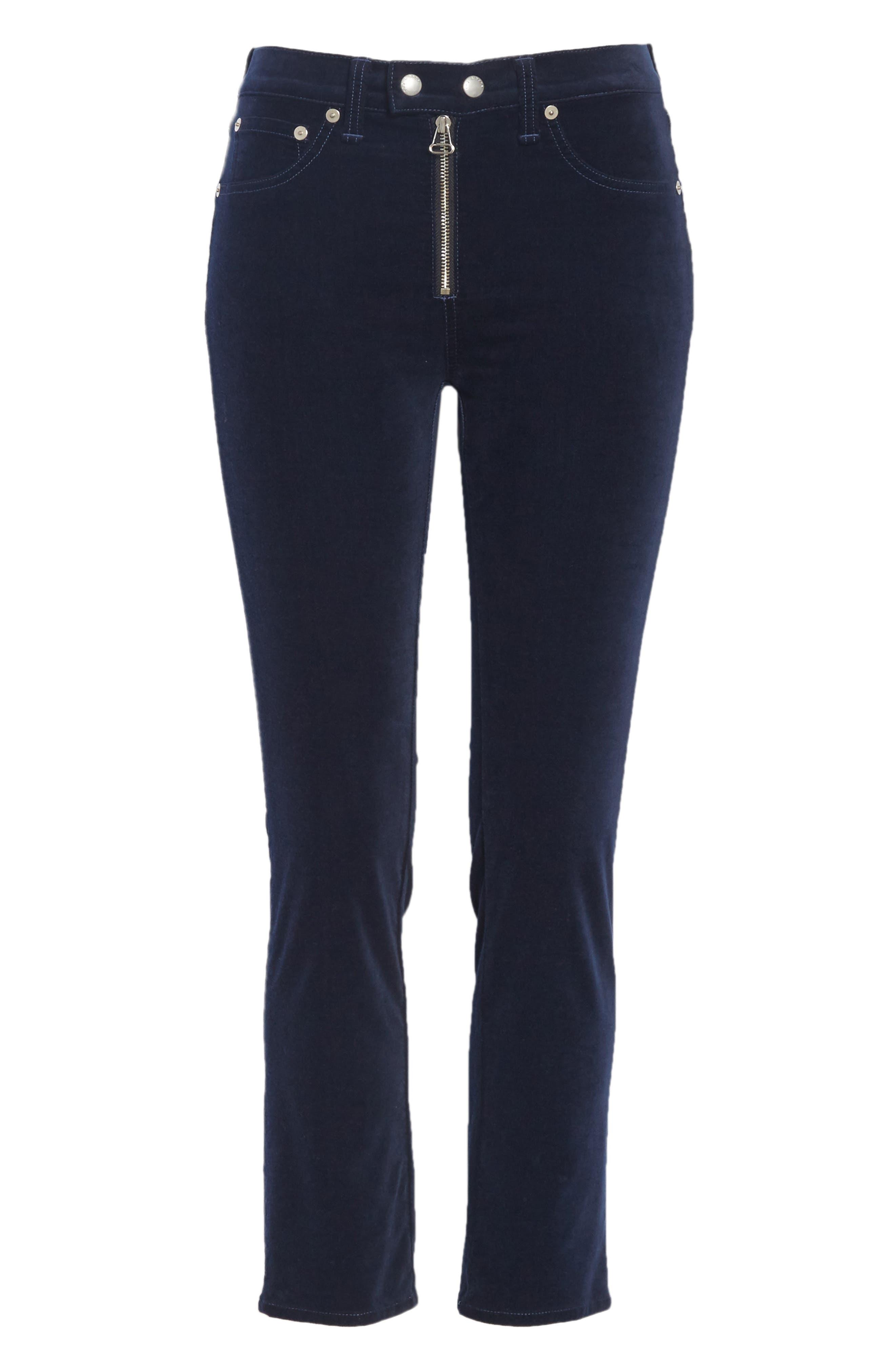 Dojo High Waist Velvet Crop Skinny Pants,                             Alternate thumbnail 6, color,                             NAVY