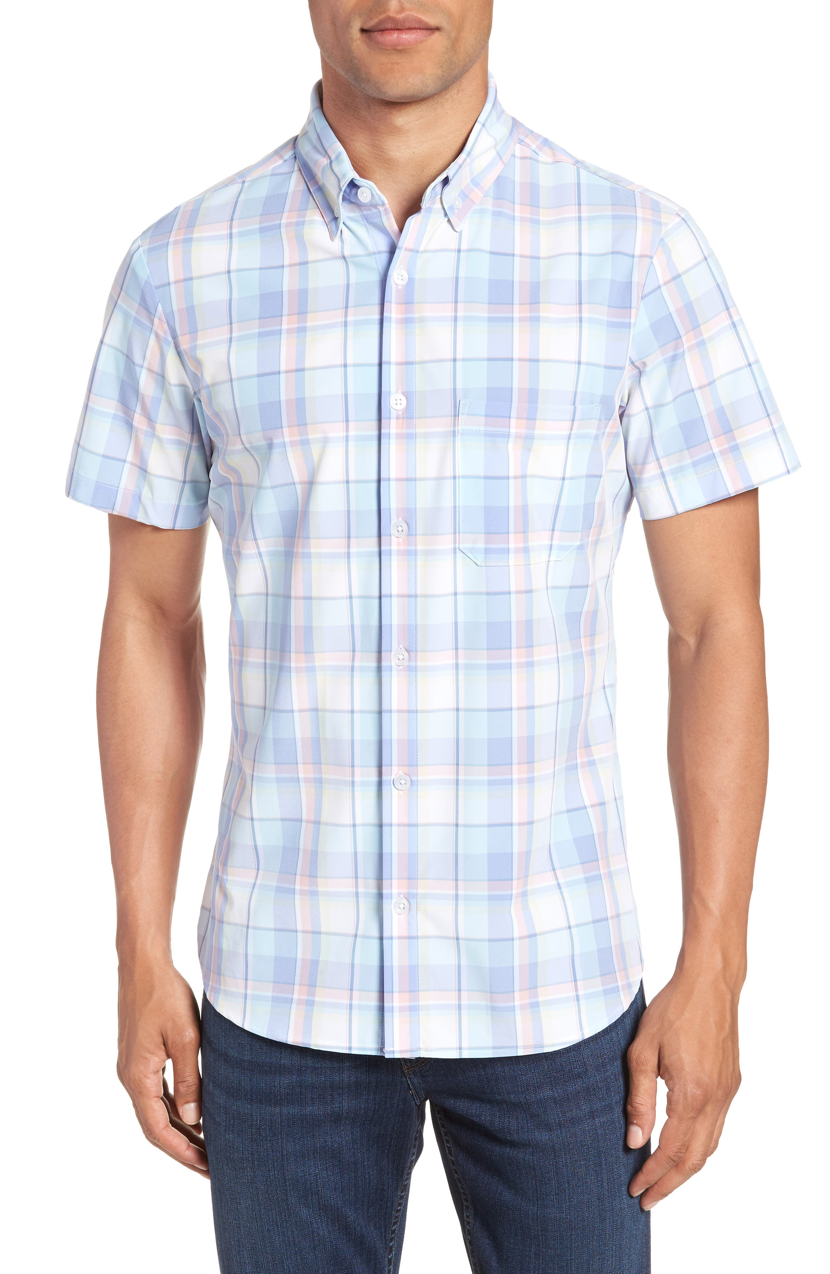 Wheeler Plaid Performance Sport Shirt,                         Main,                         color, 486