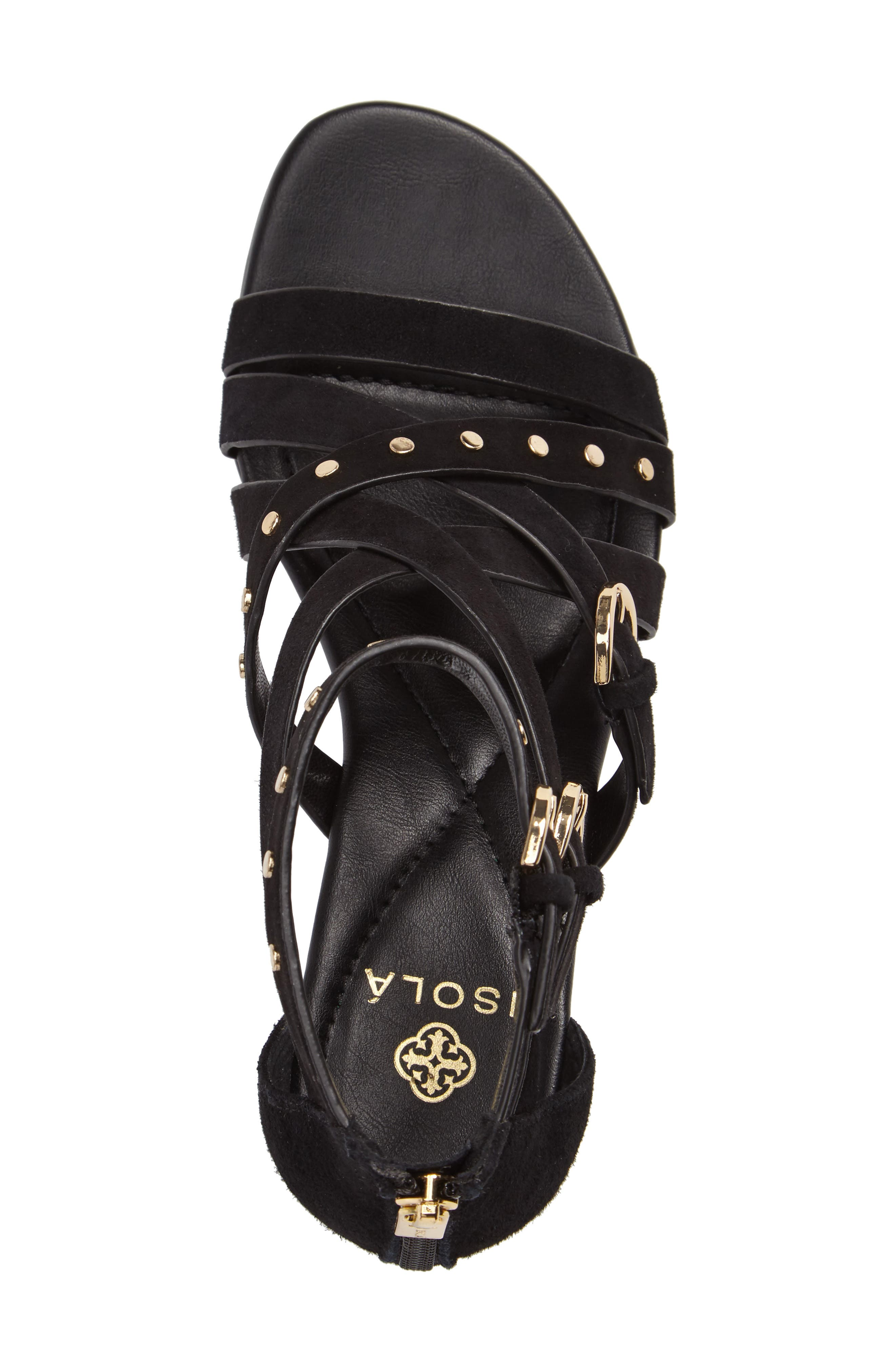 Petra Strappy Wedge Sandal,                             Alternate thumbnail 3, color,                             BLACK LEATHER