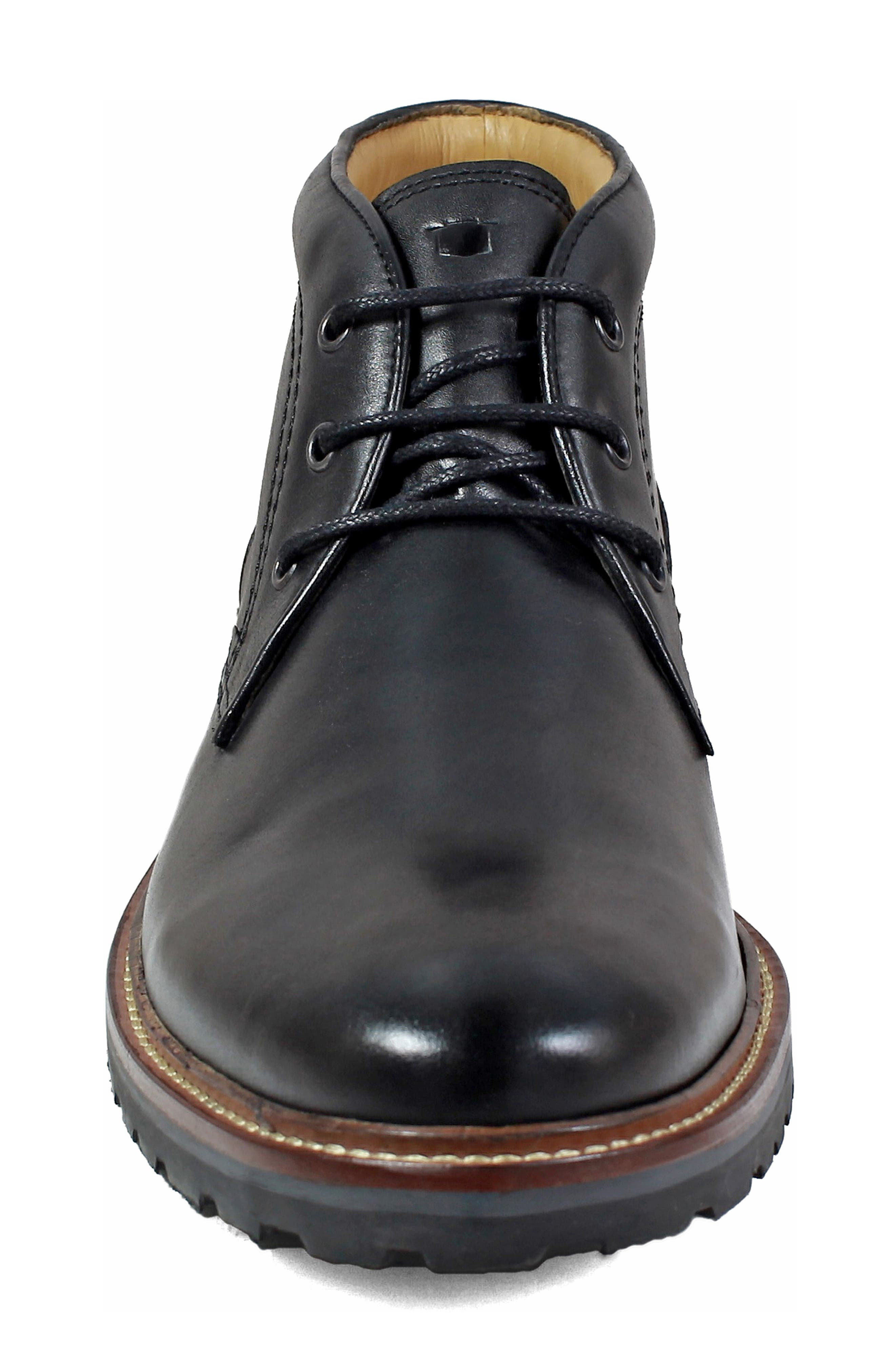 Estabrook Lugged Chukka Boot,                             Alternate thumbnail 4, color,                             BLACK LEATHER