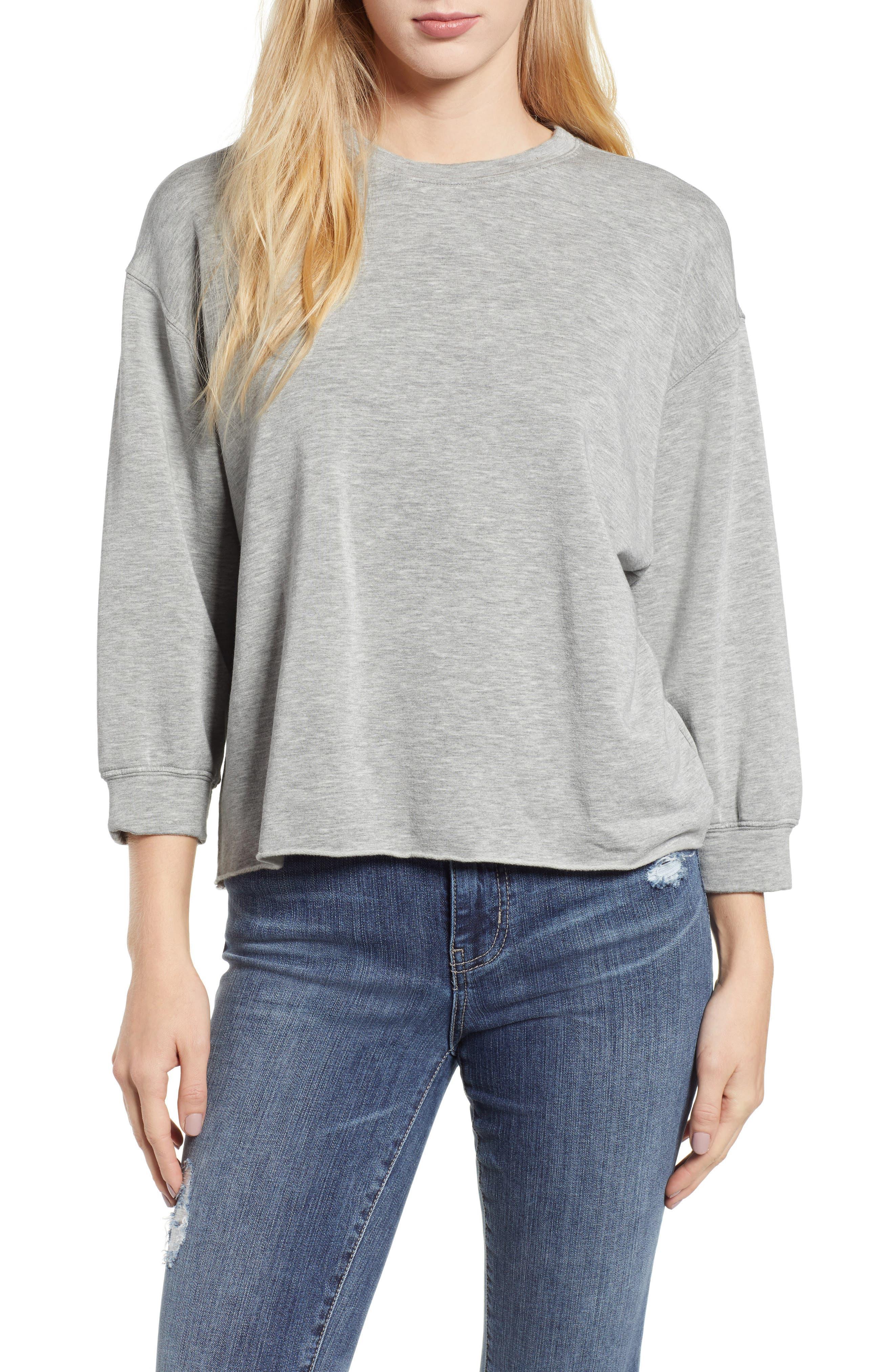 Raw Hem Sweatshirt,                         Main,                         color, HEATHER GREY