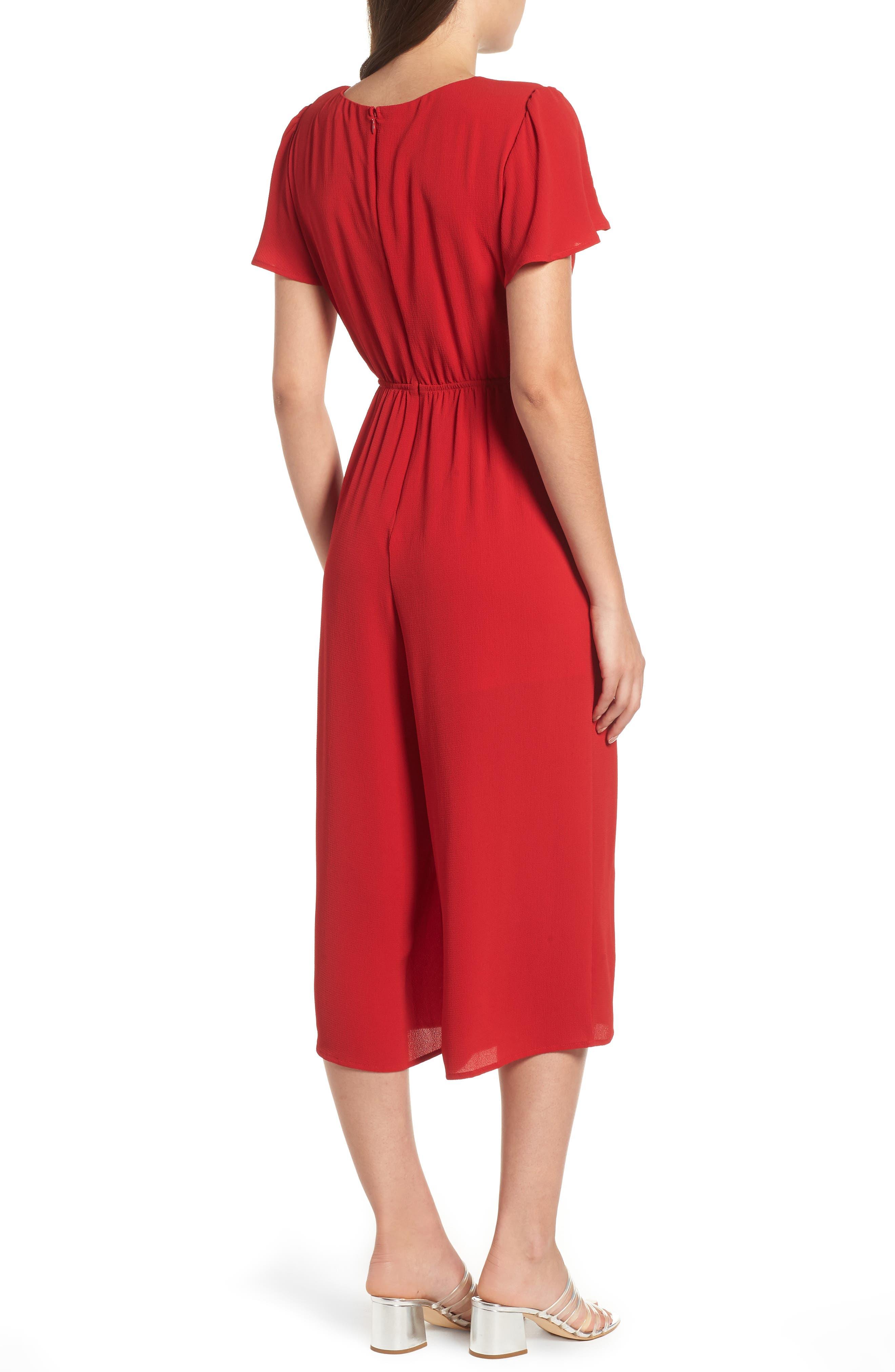 Cinch Front Crop Jumpsuit,                             Alternate thumbnail 2, color,                             RED LIPSTICK
