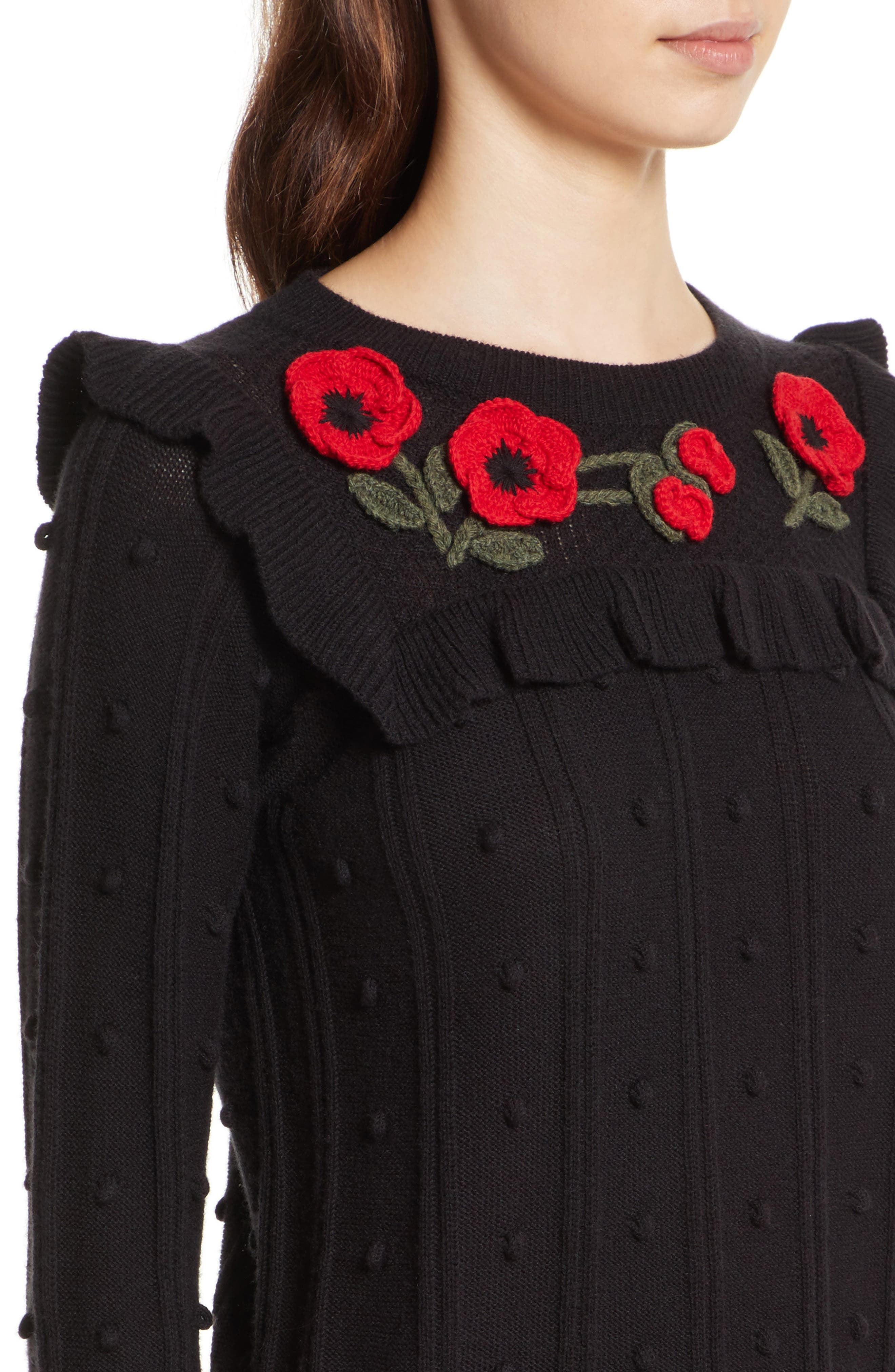 poppy embroidered sweater,                             Alternate thumbnail 4, color,                             001