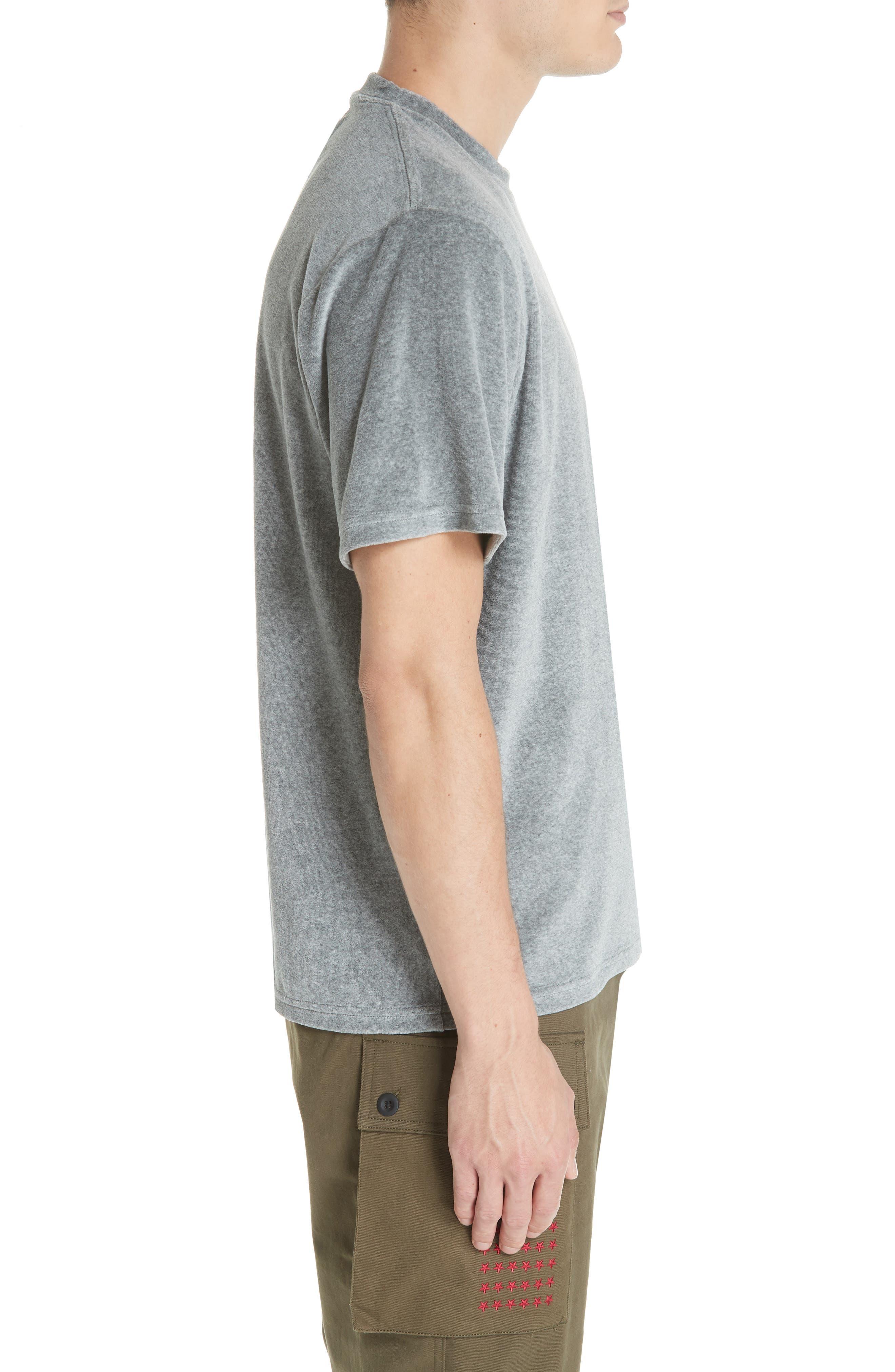 Velour T-Shirt,                             Alternate thumbnail 3, color,                             HEATHER GREY