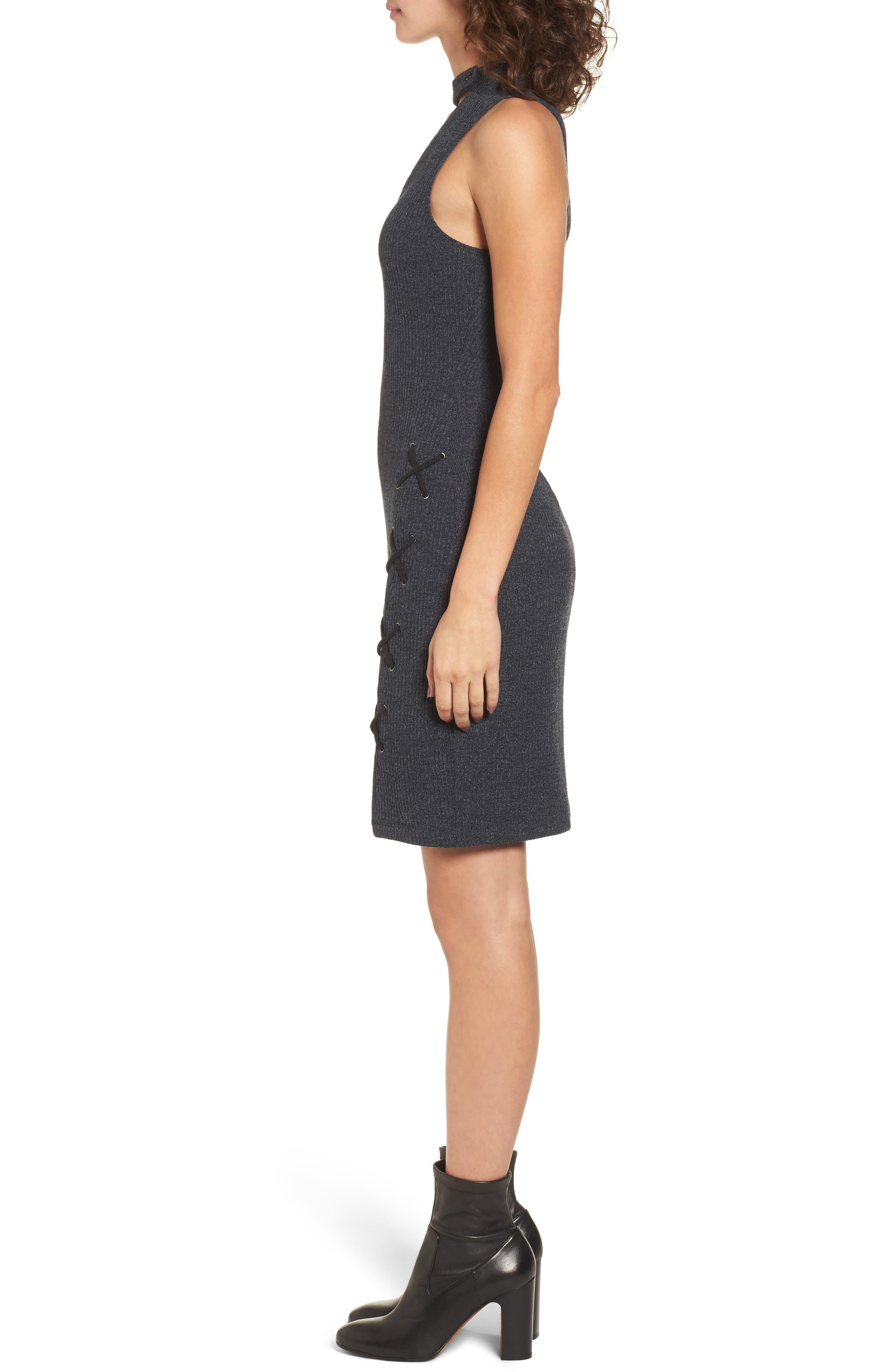 Monica Choker Neck Sweater Dress,                             Alternate thumbnail 3, color,                             020
