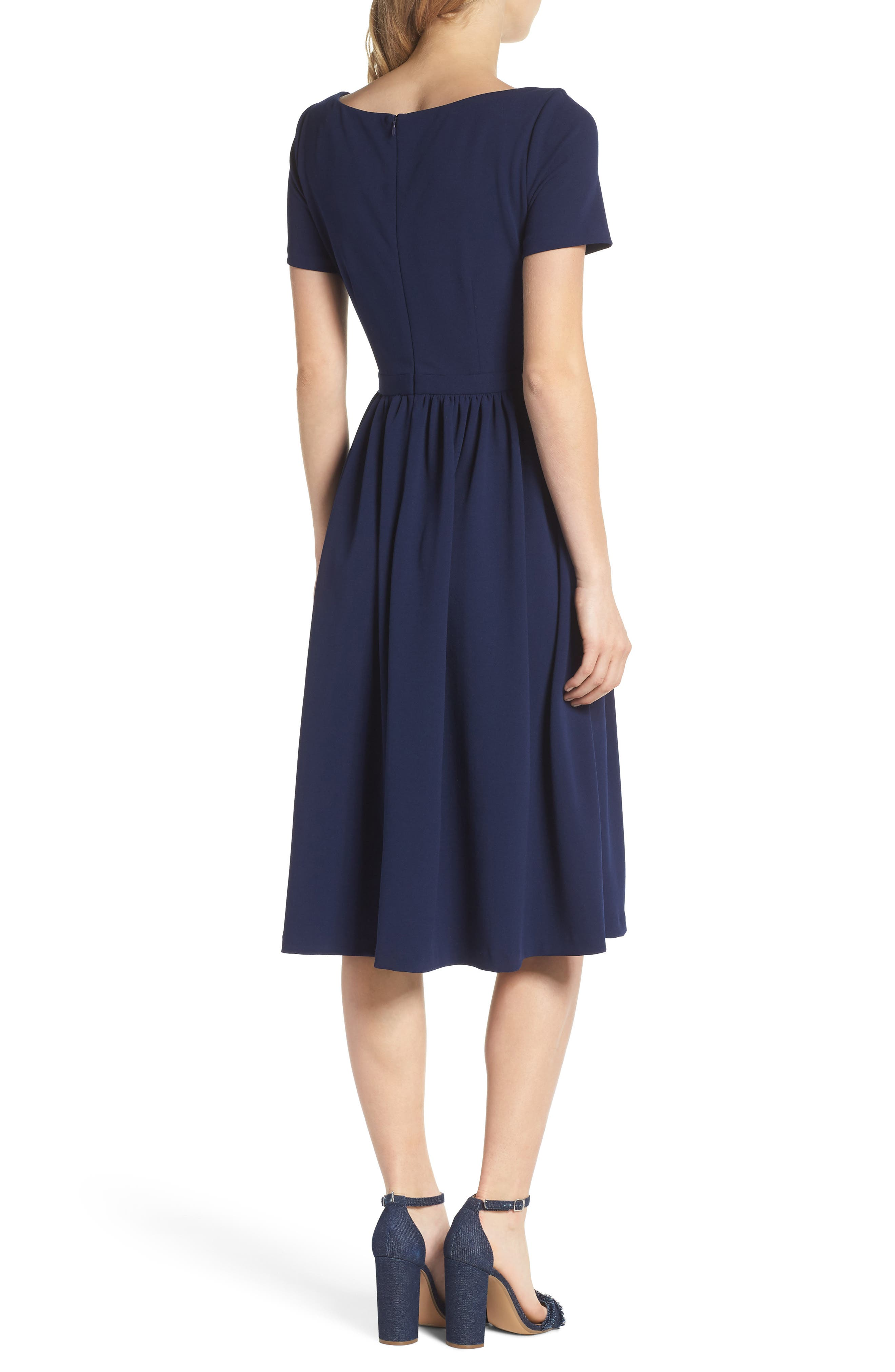 Annie Scuba Crepe Fit & Flare Dress,                             Alternate thumbnail 2, color,                             462