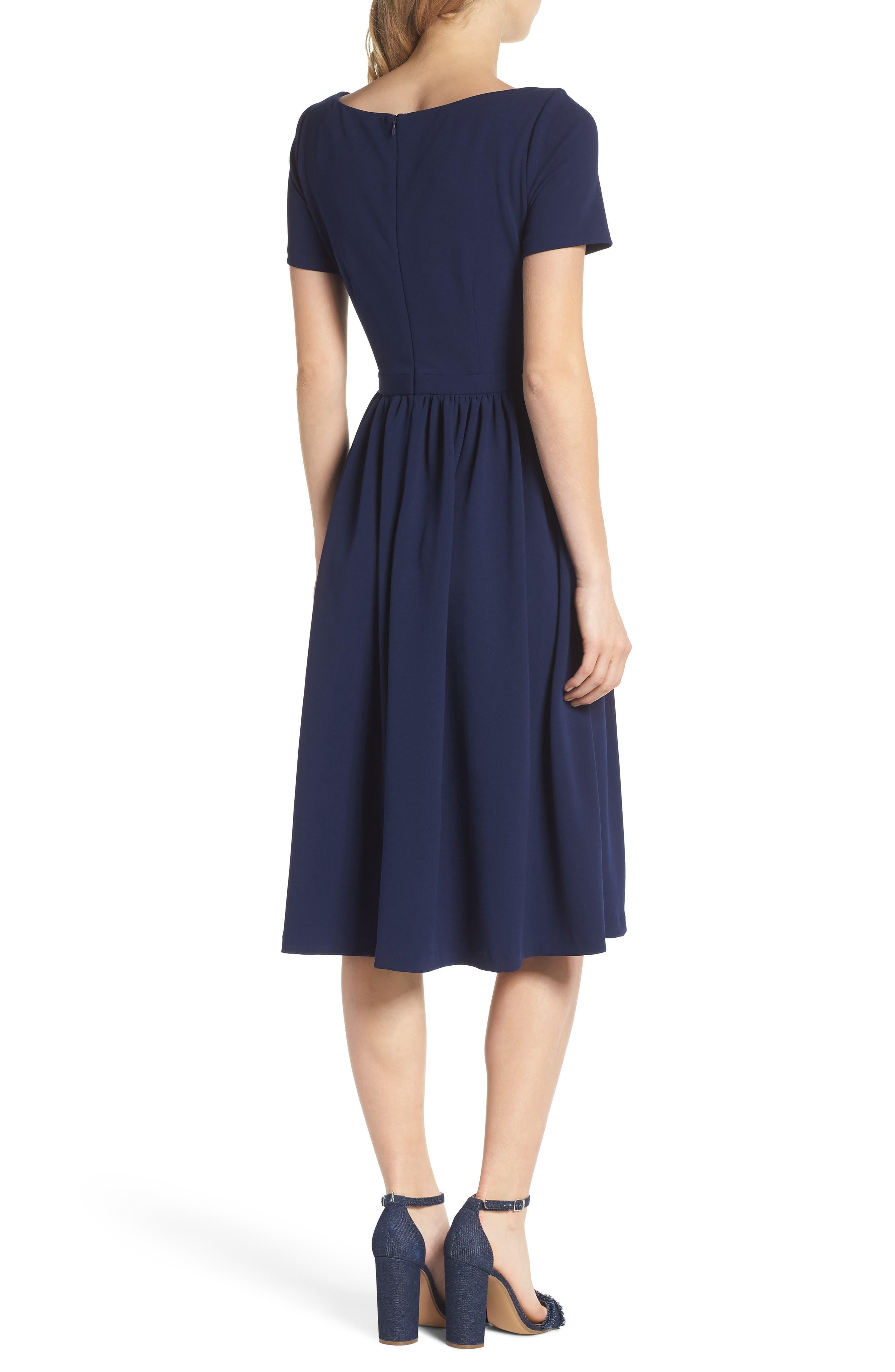 Annie Scuba Crepe Fit & Flare Dress,                             Alternate thumbnail 2, color,                             NAVY