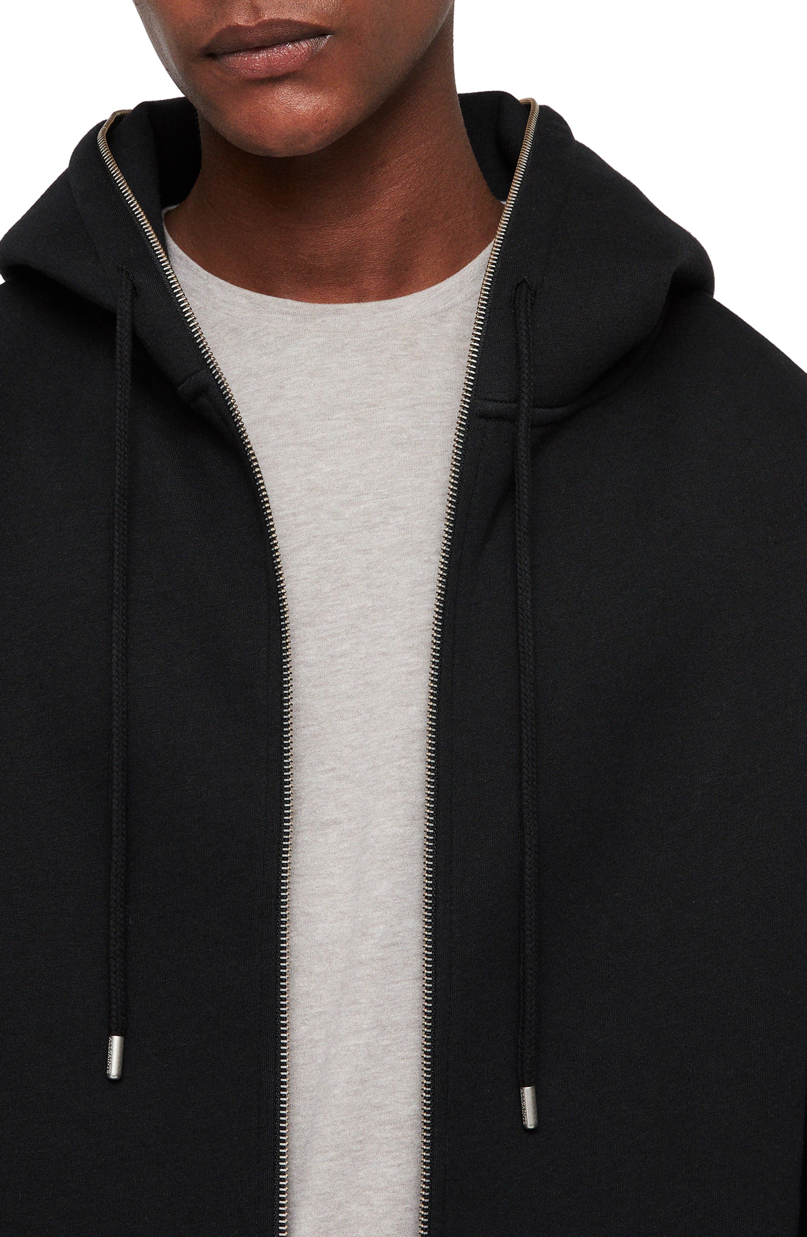 Hibard Regular Fit Zip Hoodie,                             Alternate thumbnail 4, color,                             JET BLACK