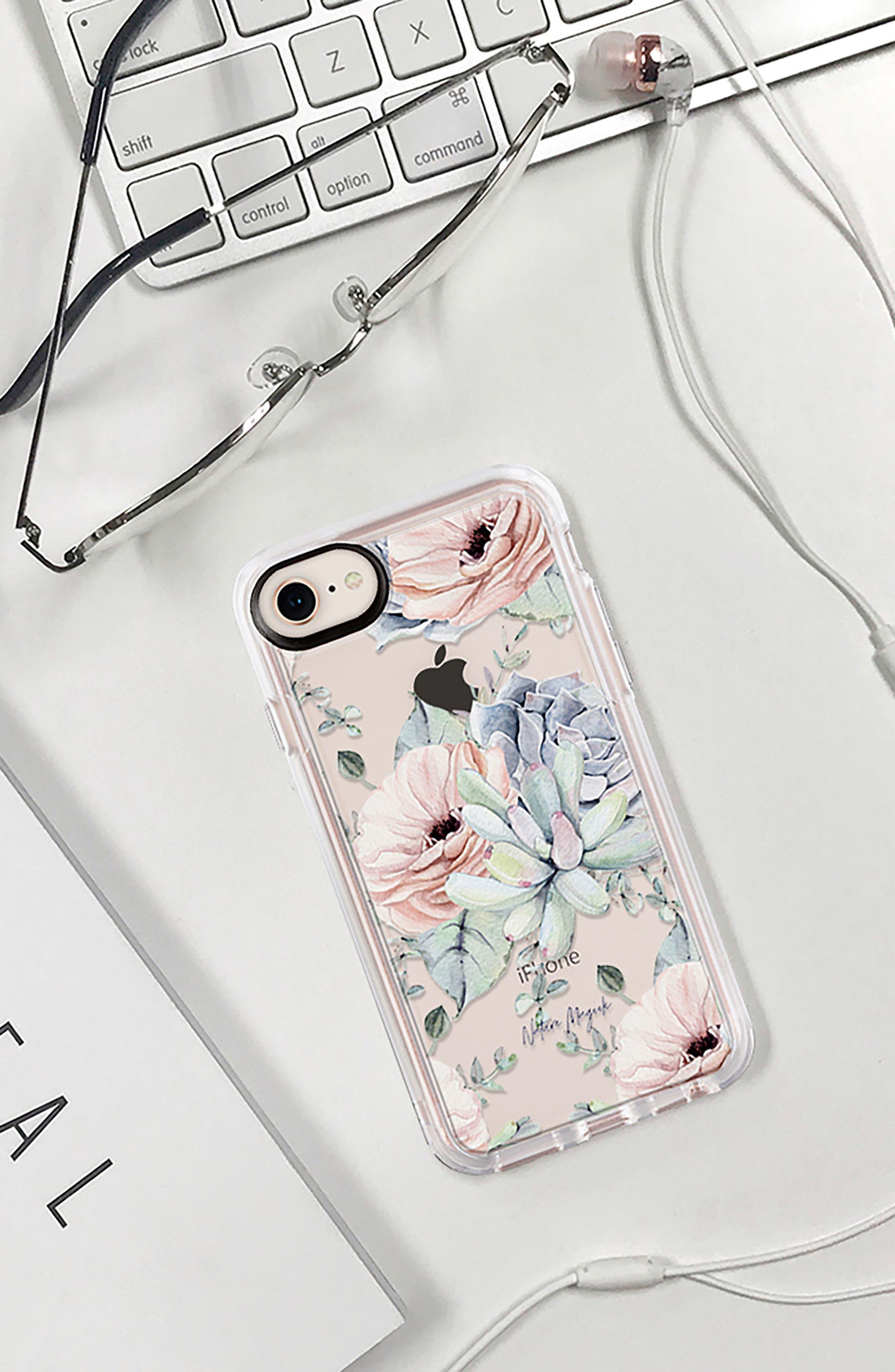 Pretty Succulents iPhone 7/8 & 7/8 Plus Case,                             Alternate thumbnail 8, color,                             CLEAR MULTI