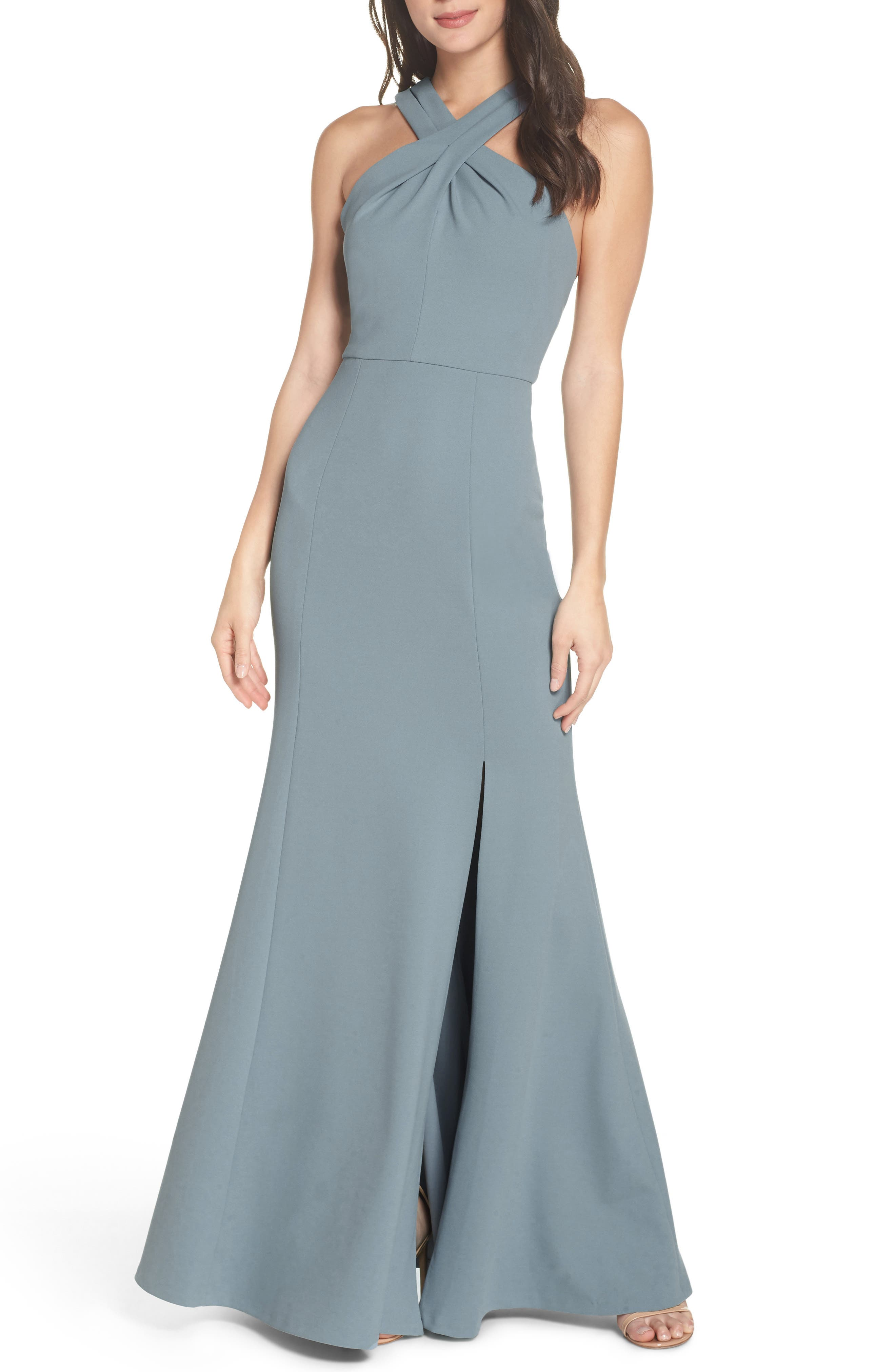 Kayleigh Cross Front Crepe Knit Gown,                             Alternate thumbnail 6, color,                             MAYAN BLUE
