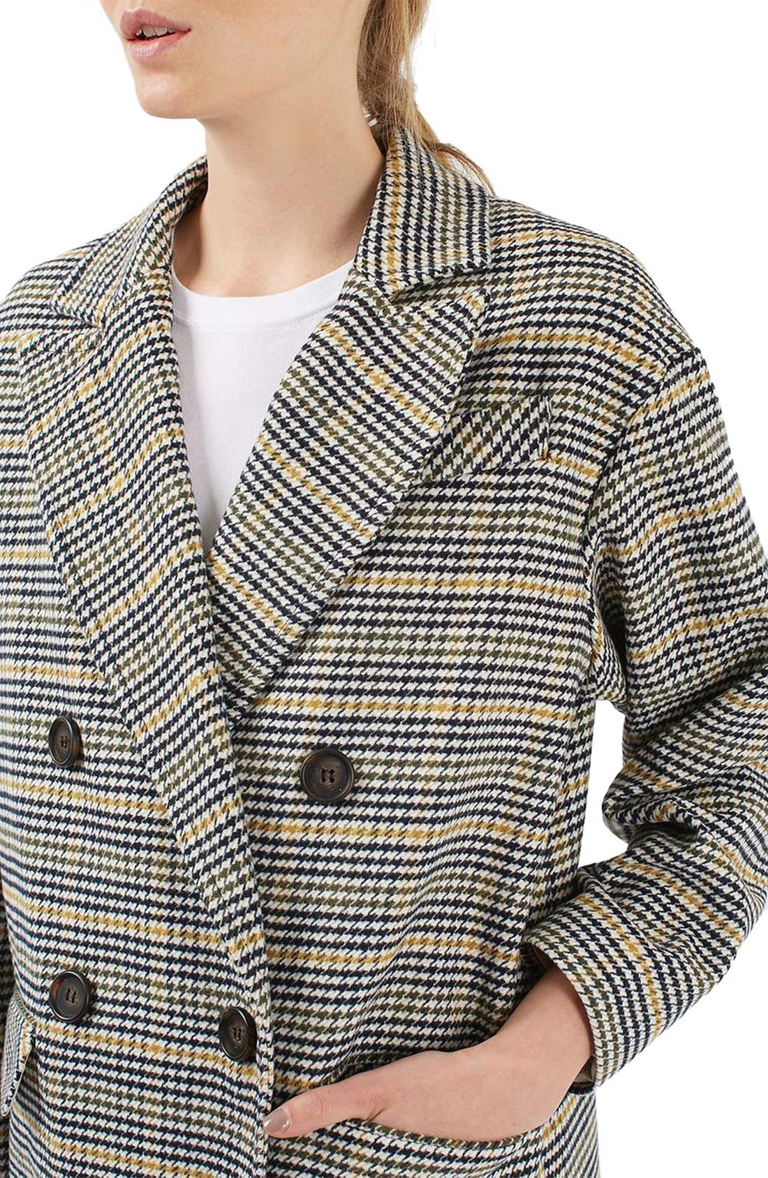 TOPSHOP,                             Heritage Check Coat,                             Alternate thumbnail 8, color,                             001