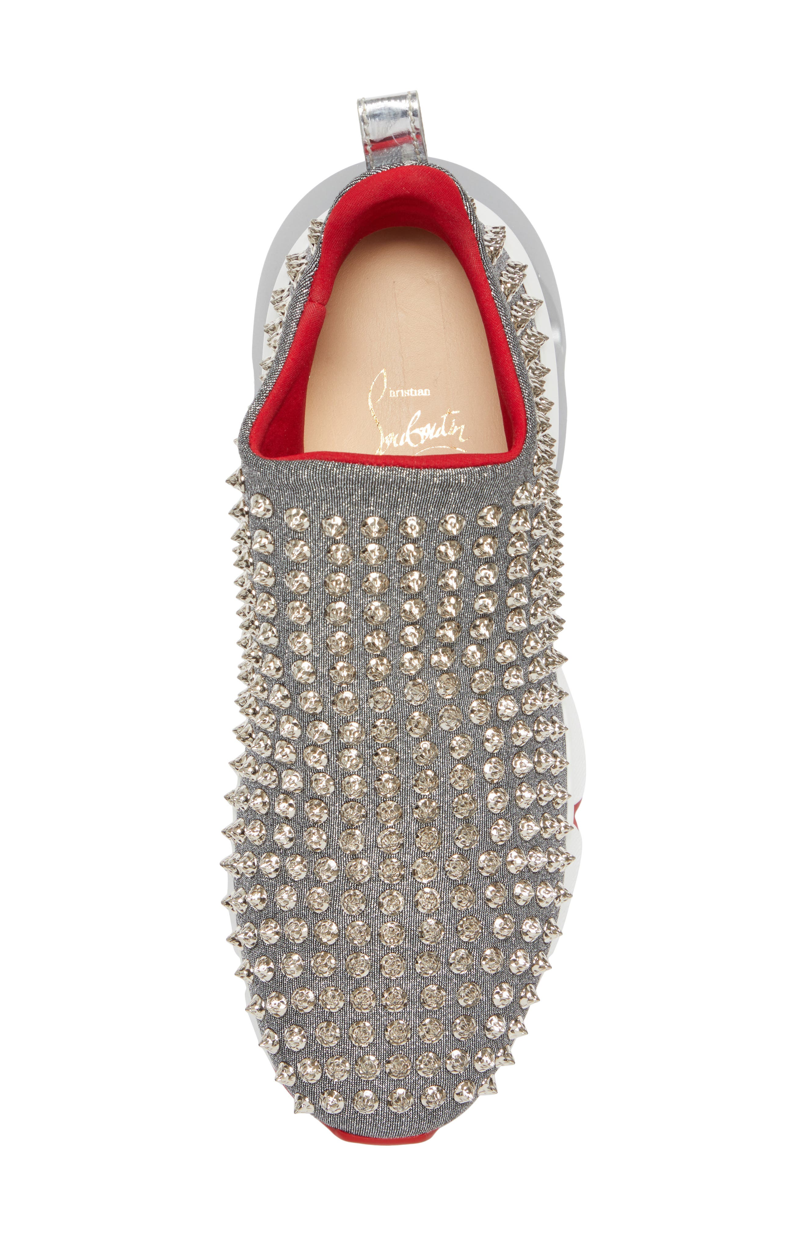 CHRISTIAN LOUBOUTIN,                             Spiky Sock-Knit Slip-On Sneaker,                             Alternate thumbnail 5, color,                             SILVER