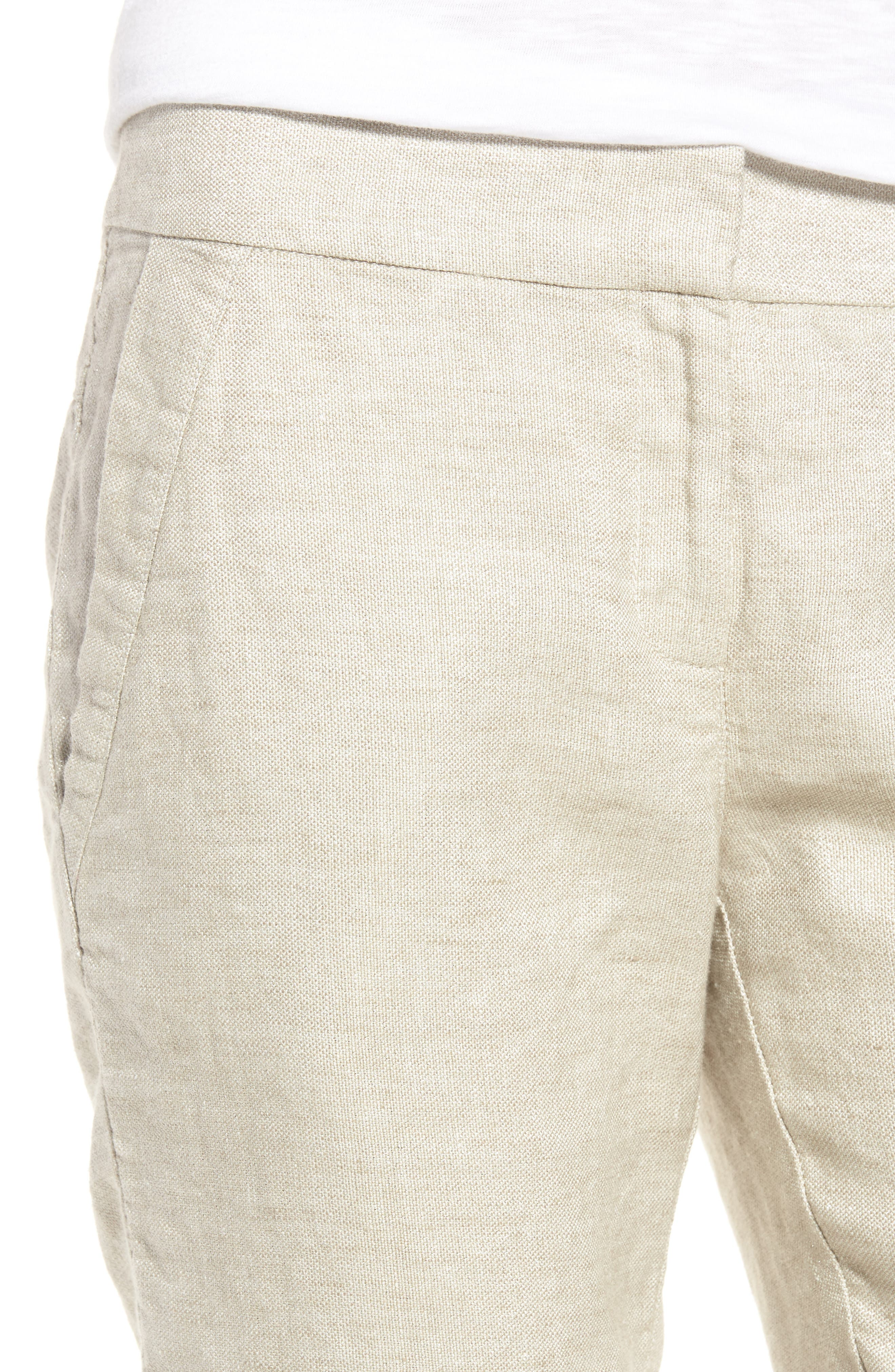 Organic Linen Blend Walking Shorts,                             Alternate thumbnail 4, color,
