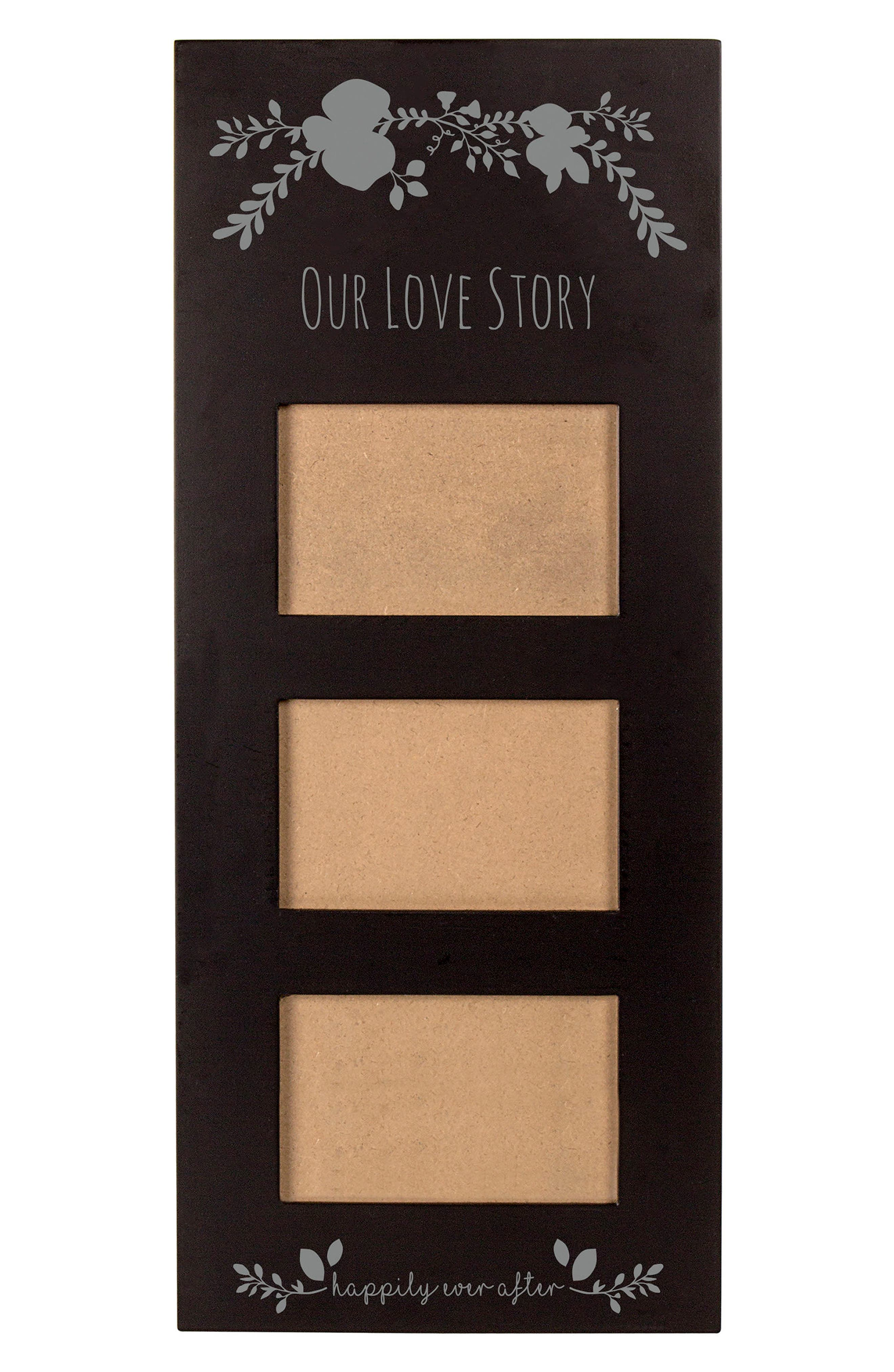 Silver Love Story 3-Window Picture Frame,                             Main thumbnail 1, color,                             001