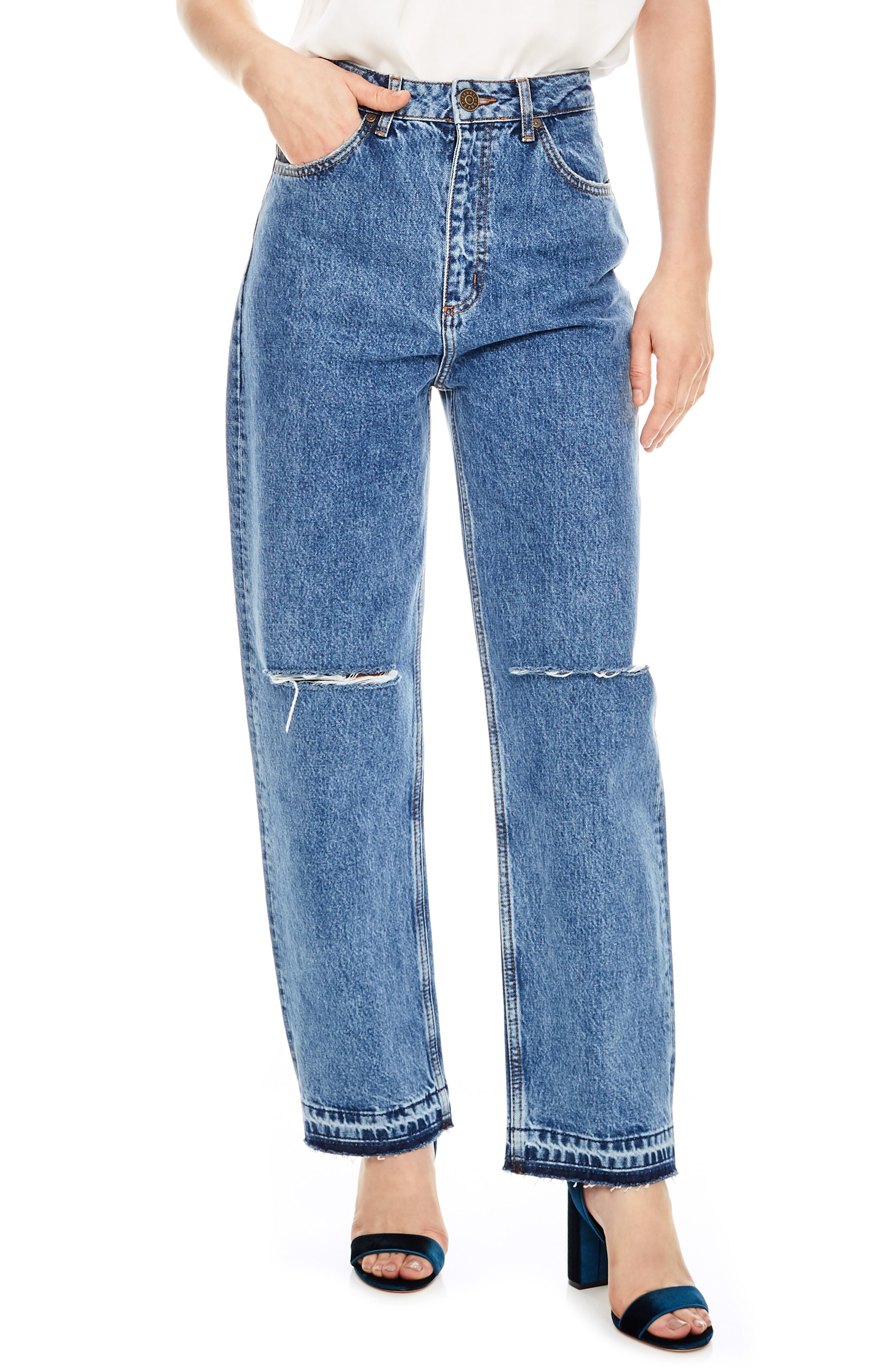 Fluffy Straight Leg Jeans,                             Main thumbnail 1, color,                             450