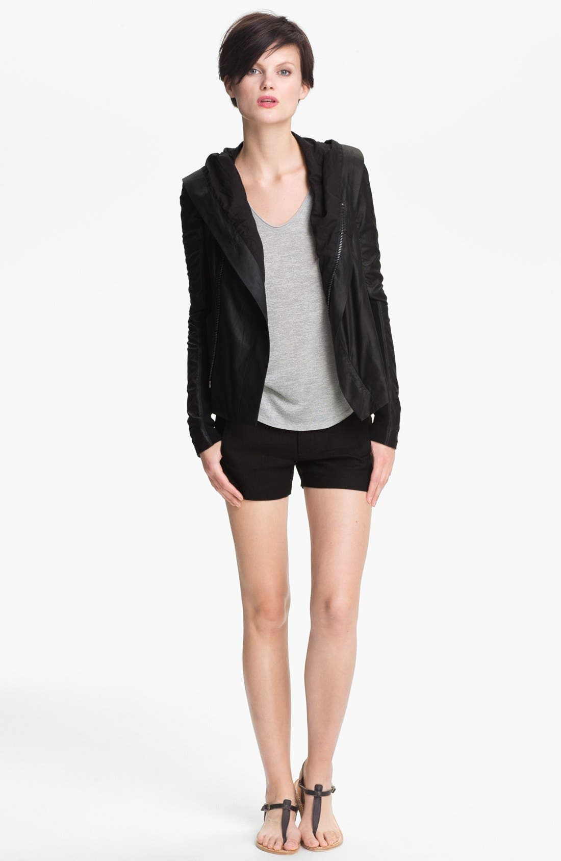 VINCE,                             Hooded Leather Jacket,                             Main thumbnail 1, color,                             001