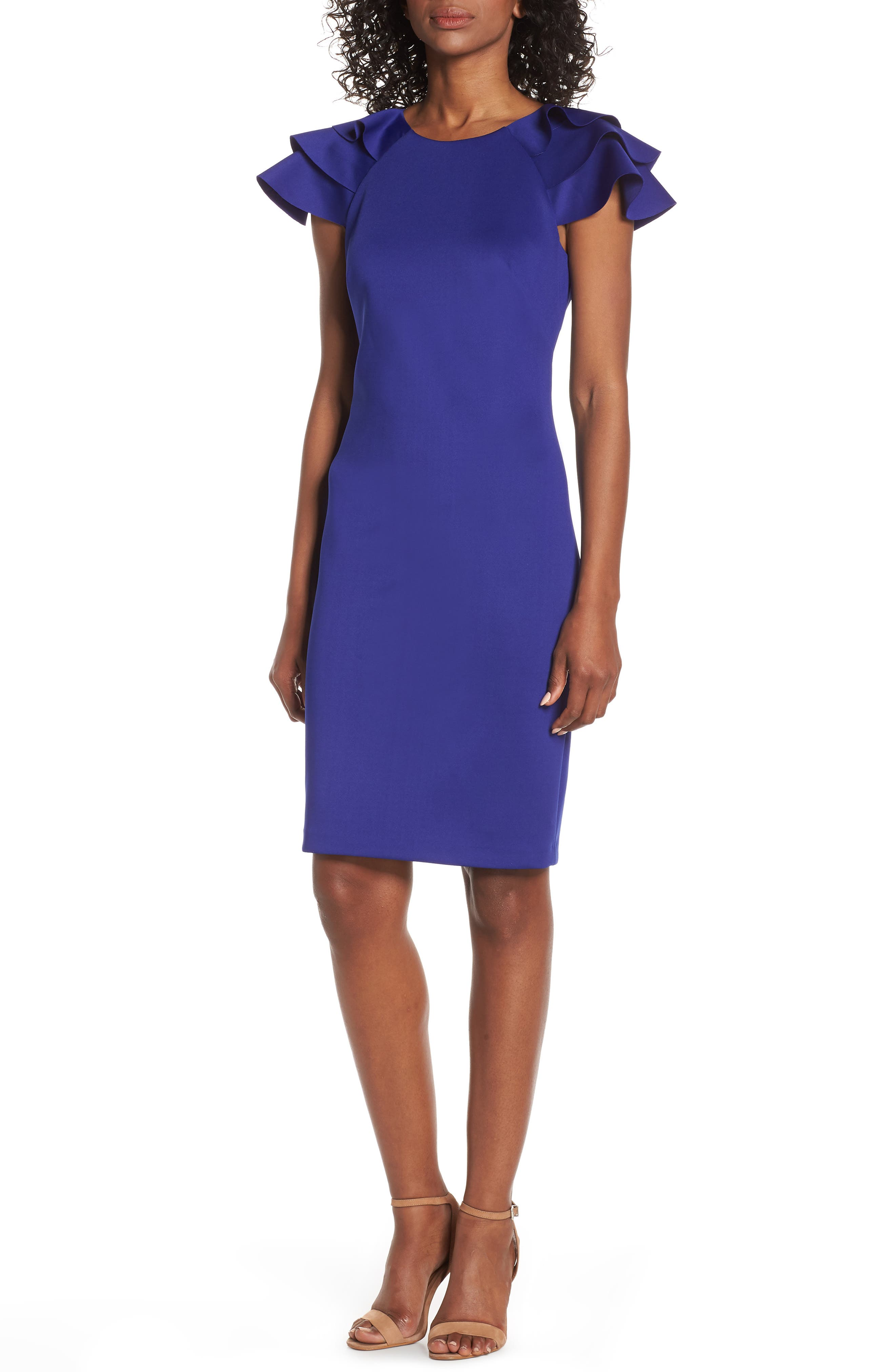 Eliza J Ruffle Sleeve Sheath Dress, Blue