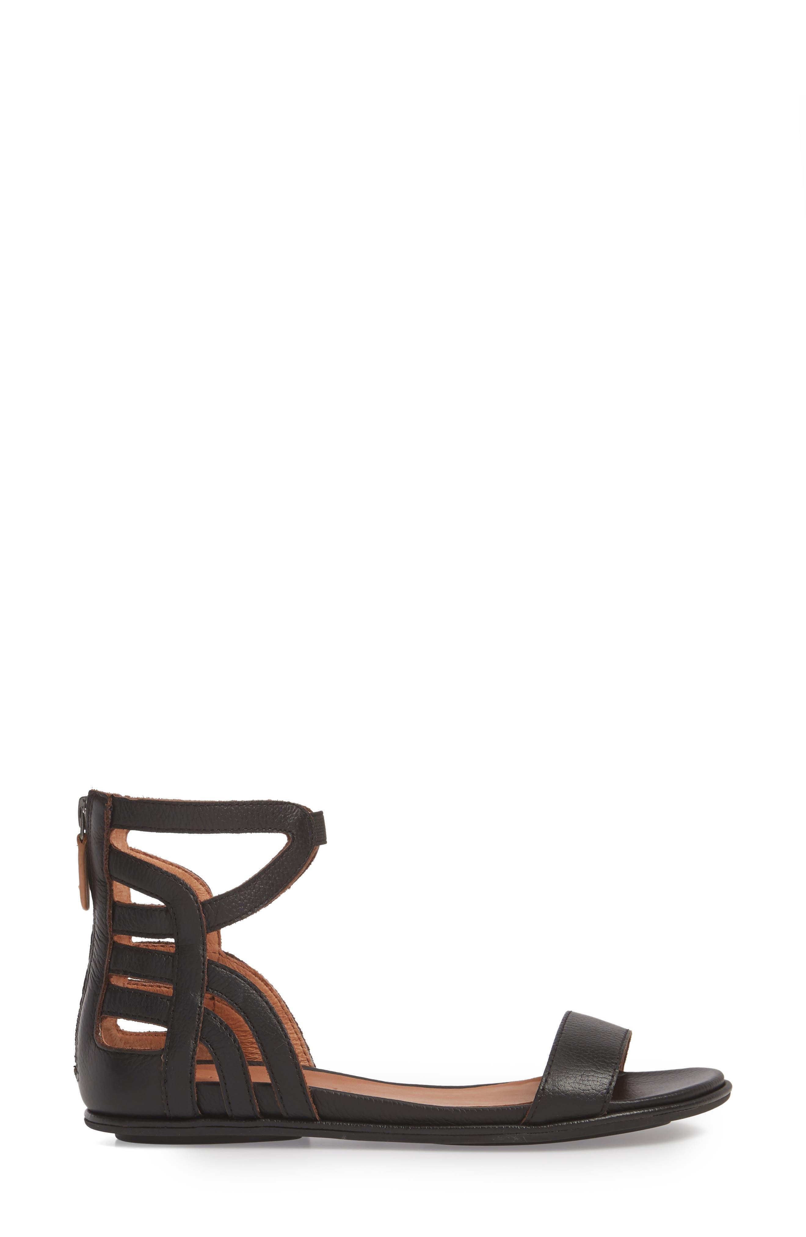 Larissa Sandal,                             Alternate thumbnail 3, color,                             BLACK LEATHER
