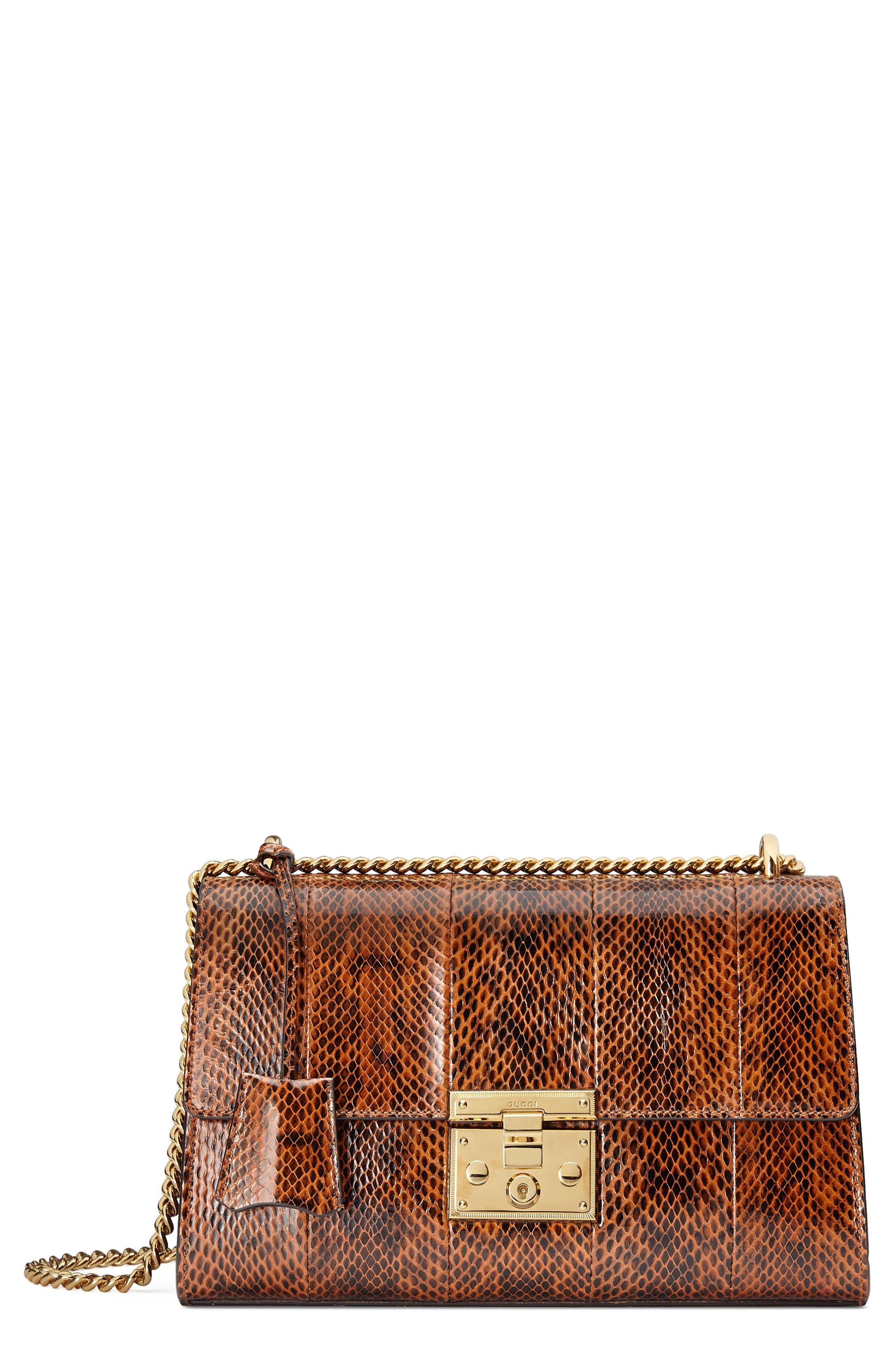Medium Padlock - Elaphe Genuine Snakeskin Shoulder Bag,                         Main,                         color, BRIGHT CUIR