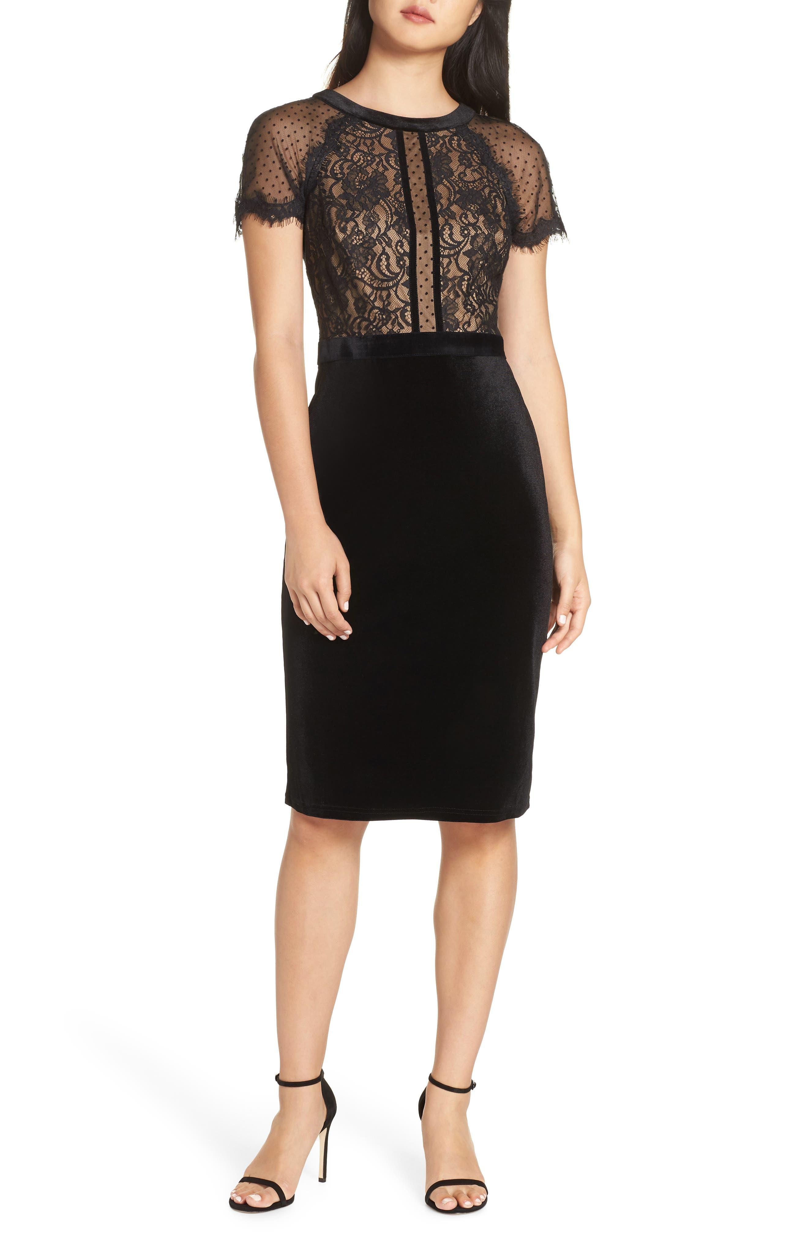 Tadashi Shoji Lace & Velvet Dress, Black