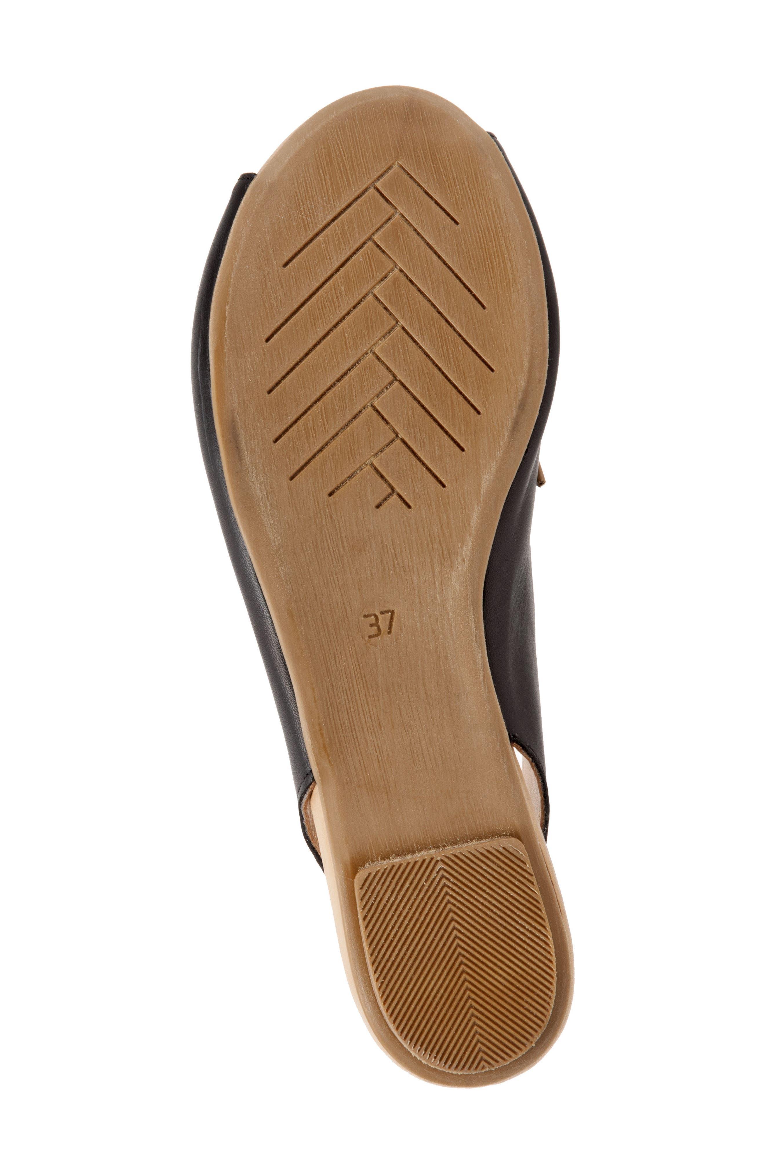 Keely Slingback Tie Sandal,                             Alternate thumbnail 6, color,                             BLACK LEATHER