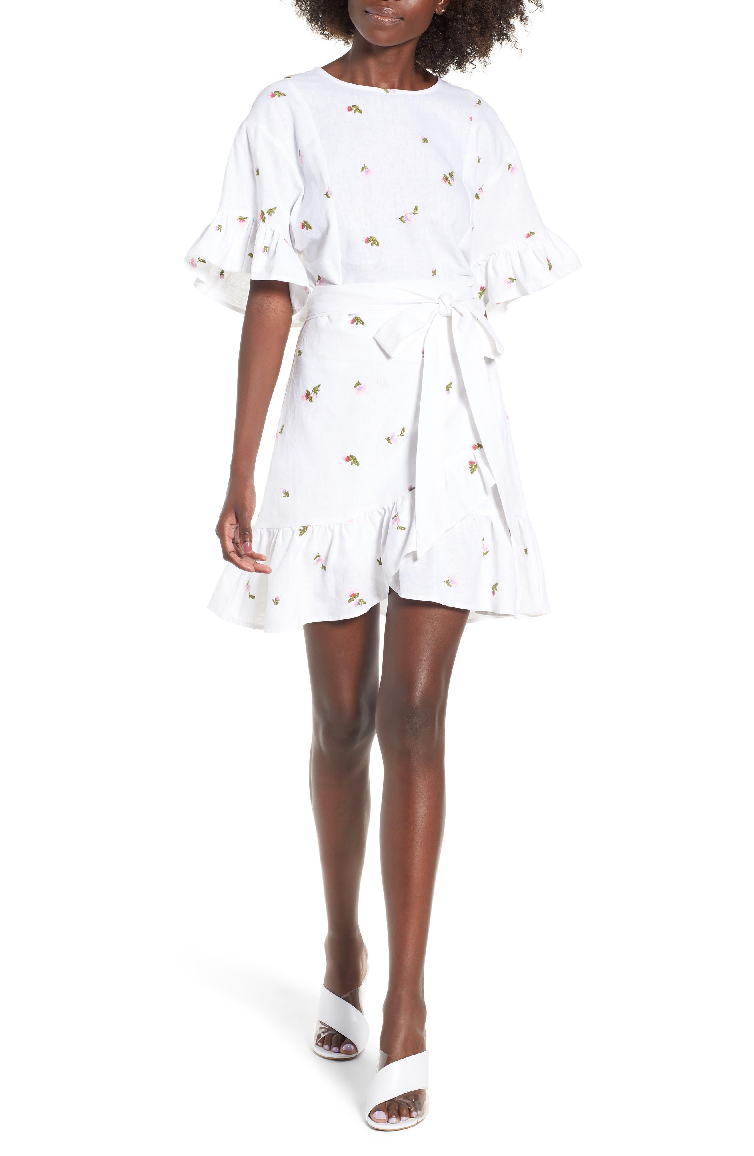 Tokyo Ruffle Sleeve Wrap Dress,                         Main,                         color, DITSY EMBROIDERY