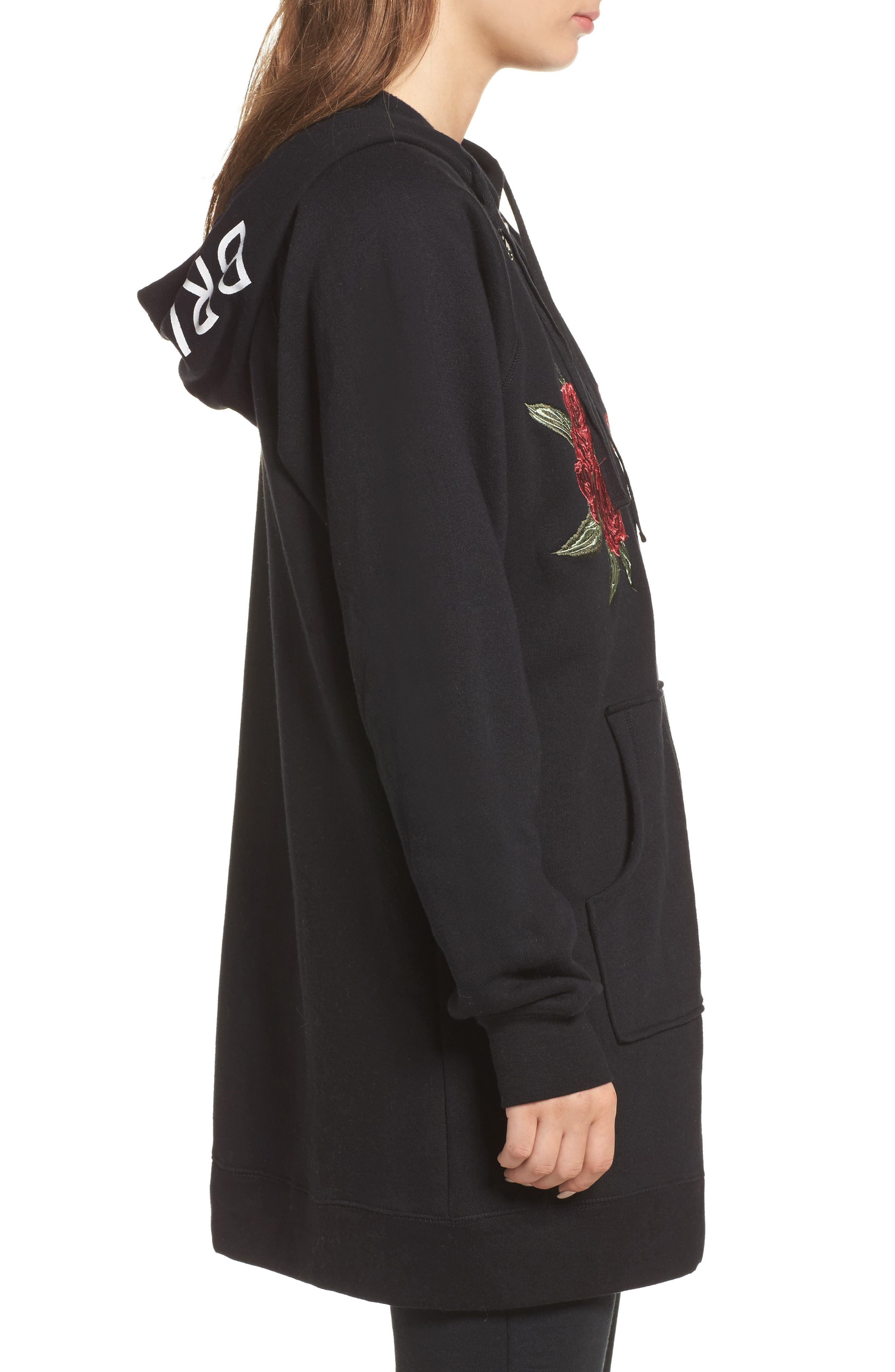 Brunette Embroidered Zip Hoodie,                             Alternate thumbnail 3, color,