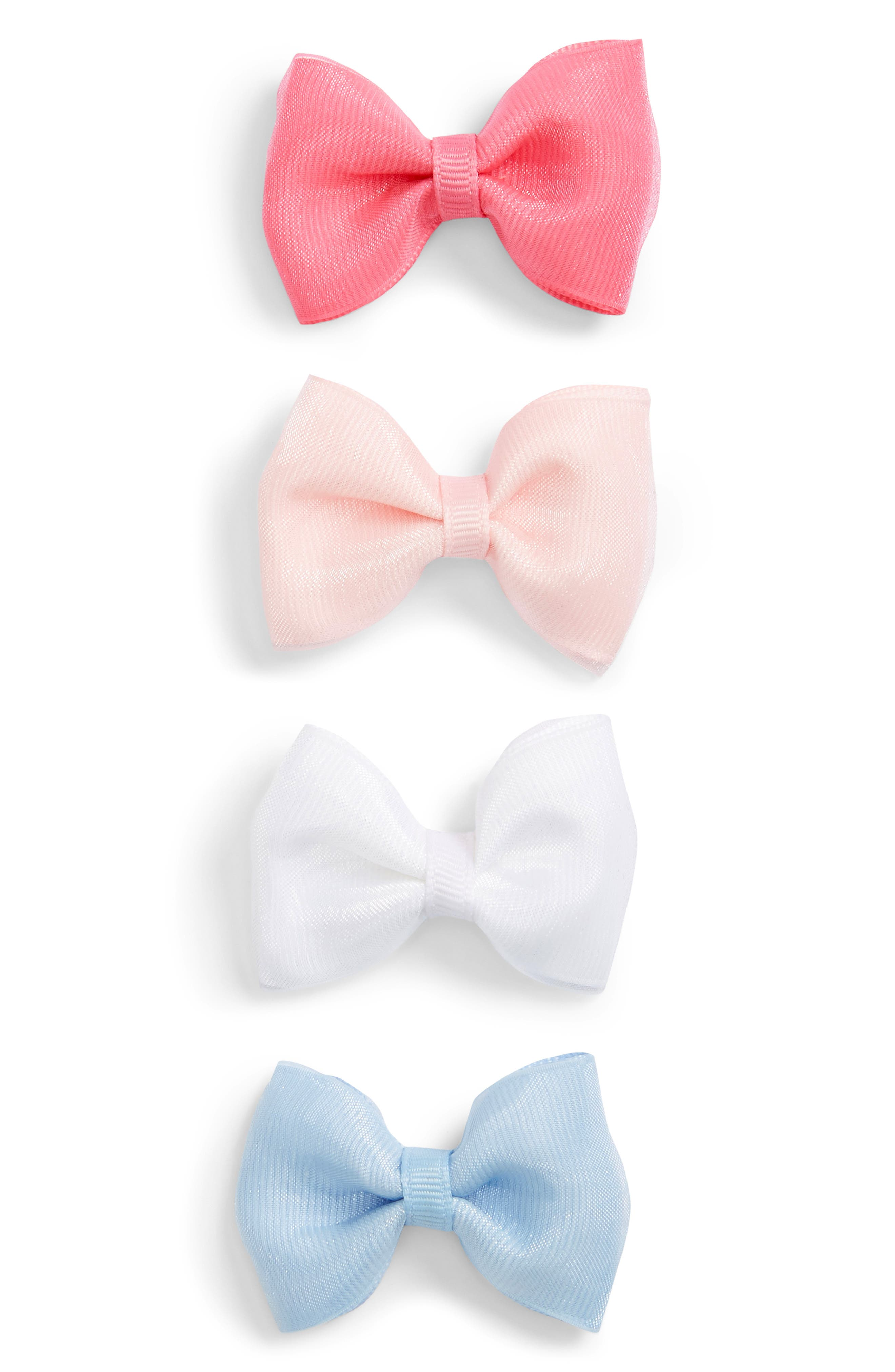 4-Pack Organza Bow Clips,                             Alternate thumbnail 5, color,                             PEONY