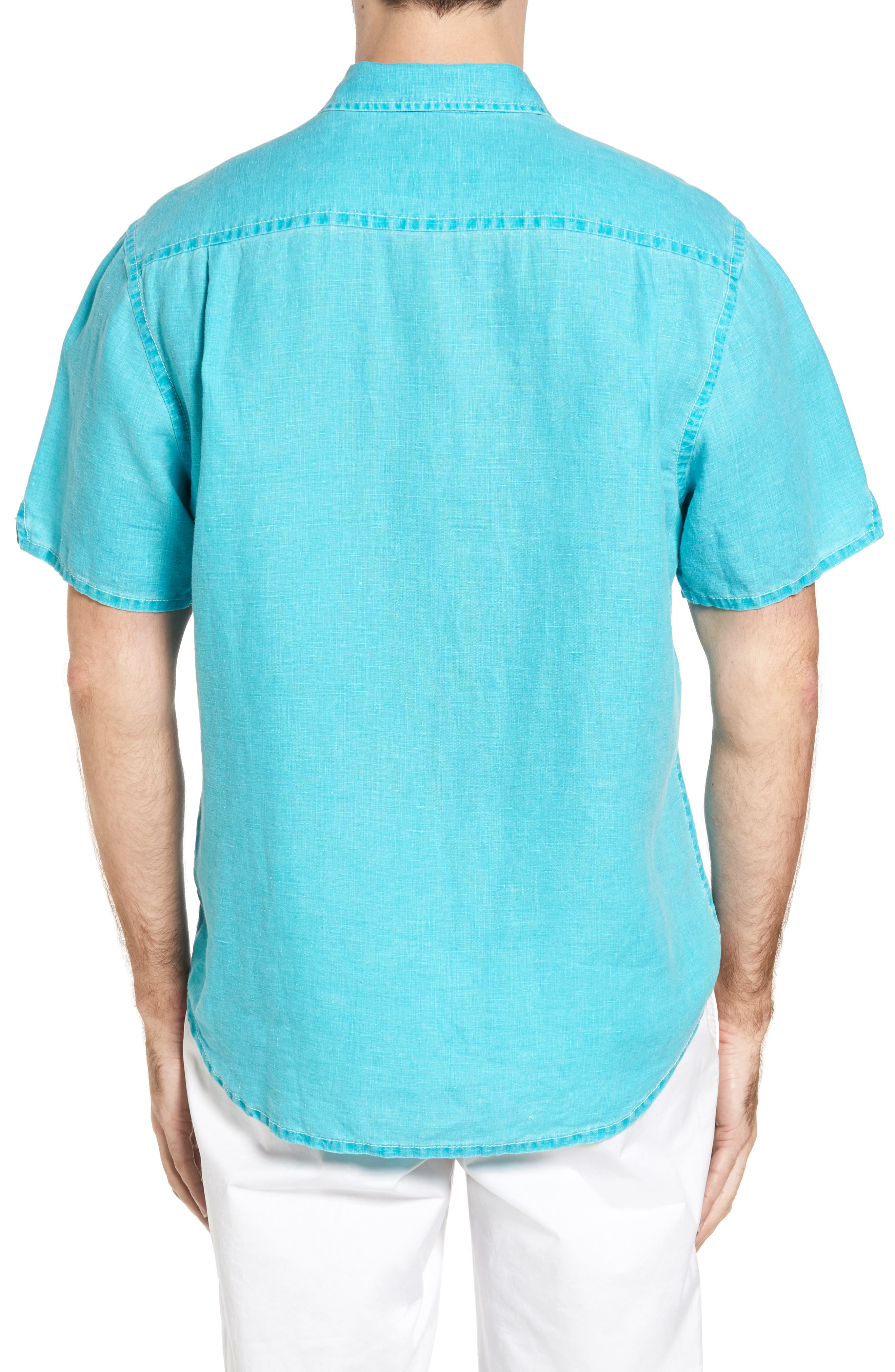 Seaglass Breezer Short Sleeve Linen Sport Shirt,                             Alternate thumbnail 26, color,