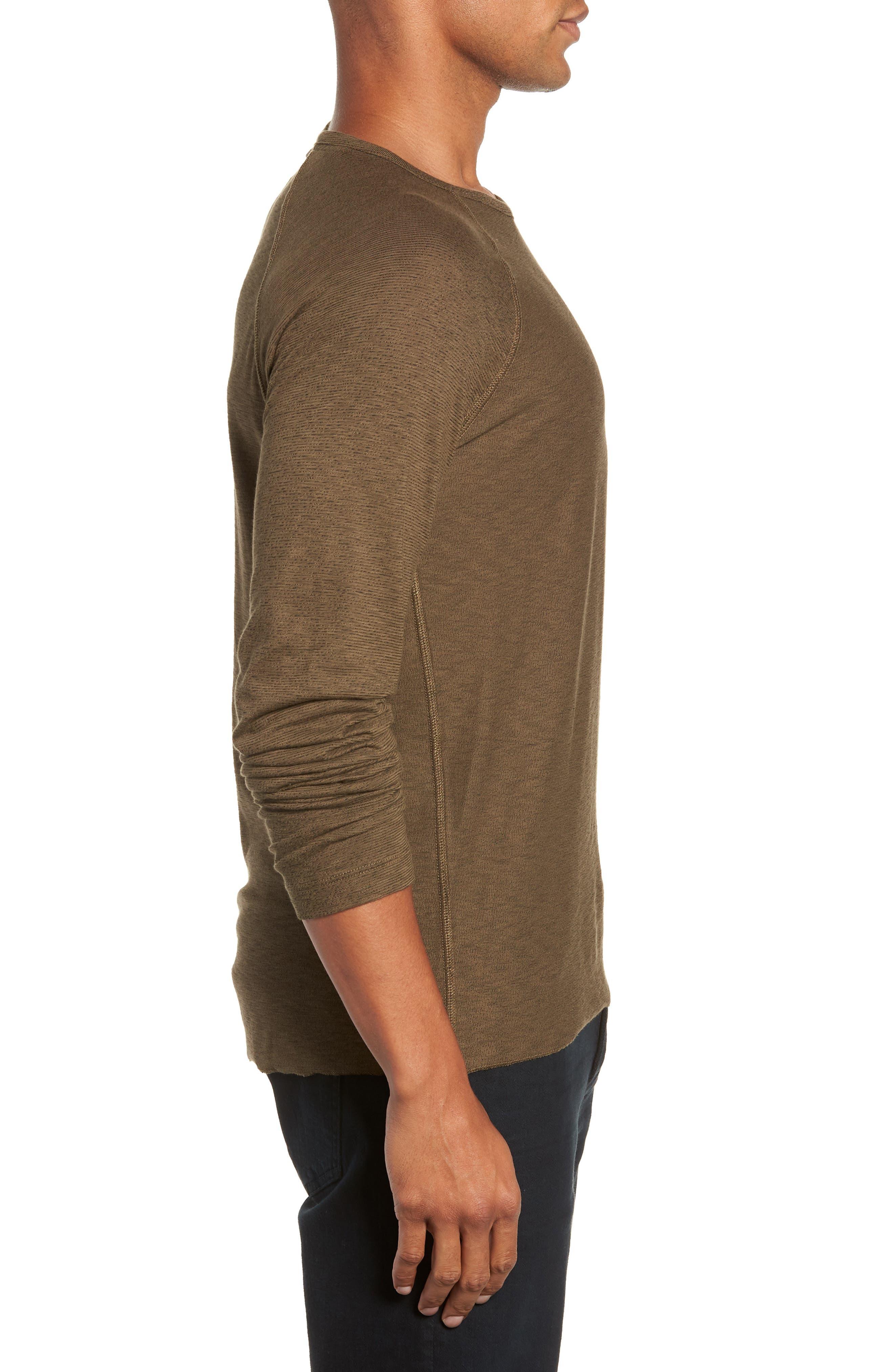Regular Fit Long Sleeve T-Shirt,                             Alternate thumbnail 3, color,                             OLIVE