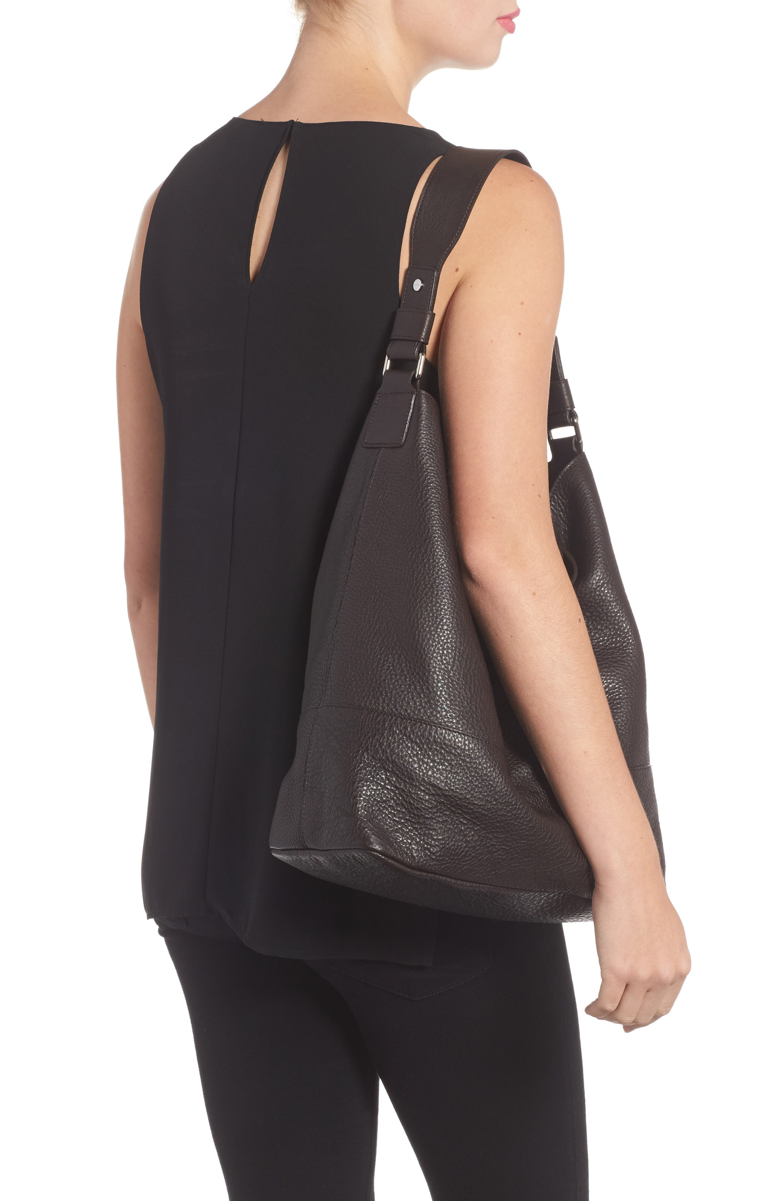 Relaxed Calfskin Leather Hobo Bag,                             Alternate thumbnail 2, color,                             240