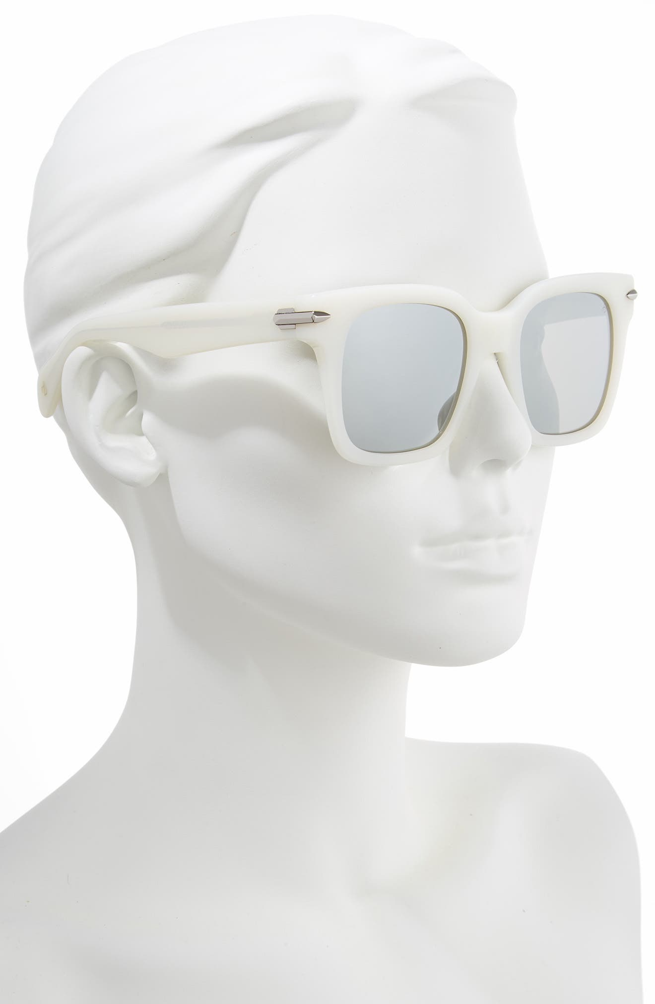 51mm Polarized Mirrored Square Sunglasses,                             Alternate thumbnail 2, color,                             WHITE