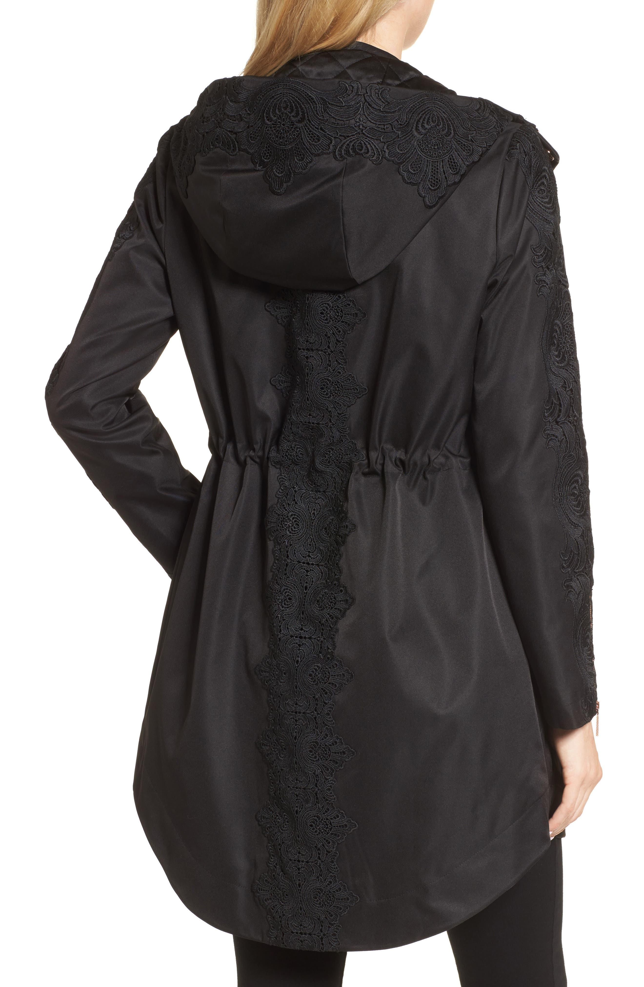 Lace Detail Anorak Jacket,                             Alternate thumbnail 2, color,                             001