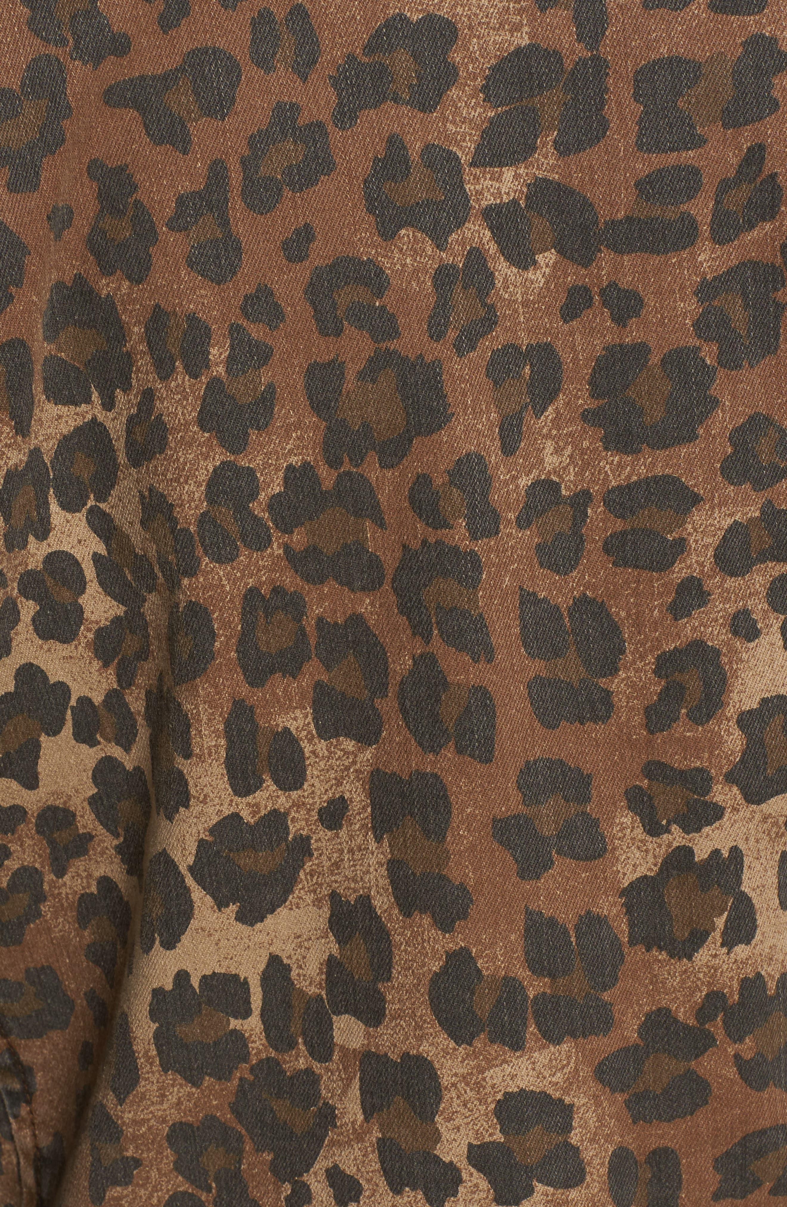 Studded Leopard Print Moto Jacket,                             Alternate thumbnail 6, color,                             200