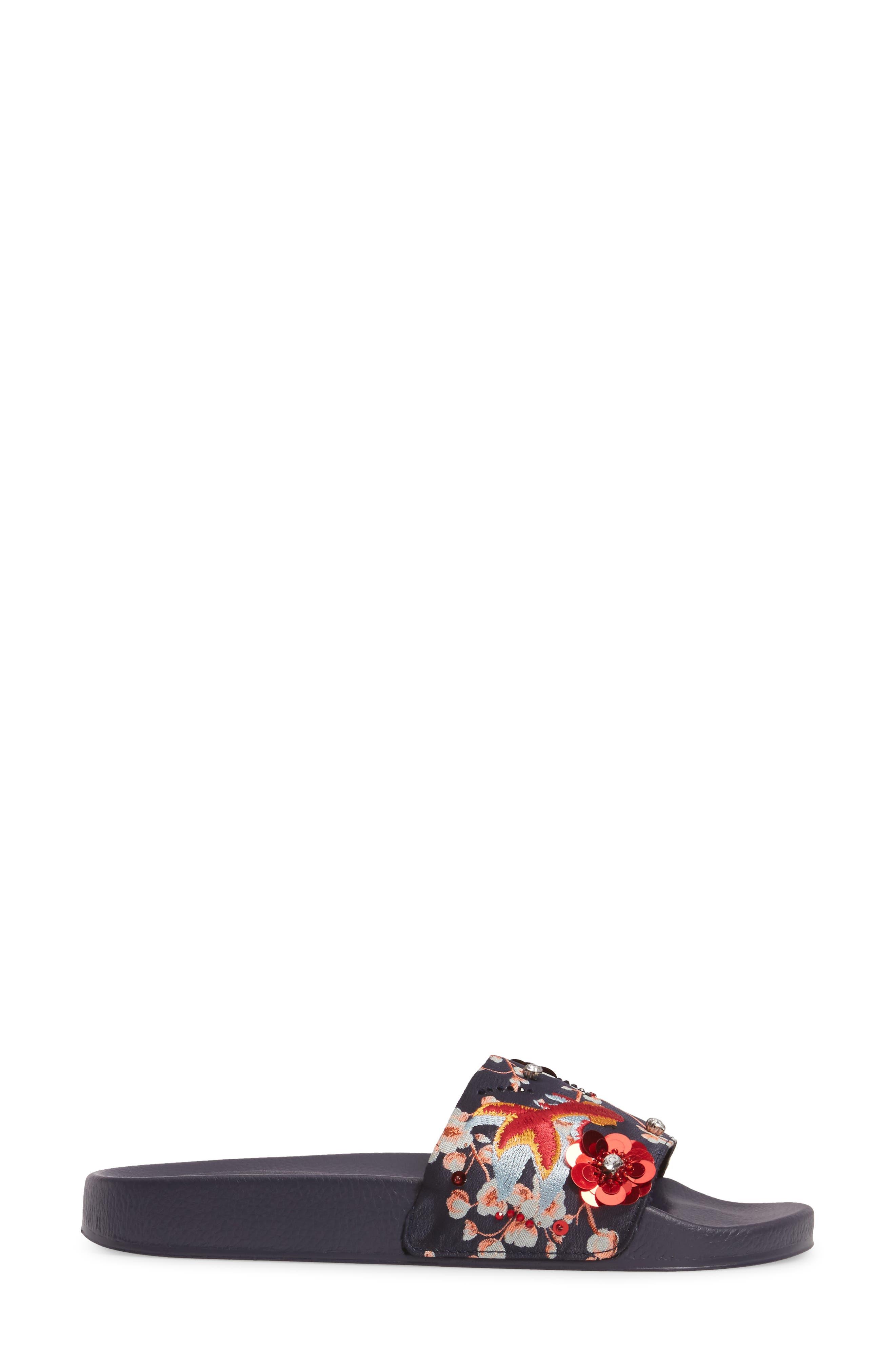 HERRING Goldfish Embellished Slide Sandal,                             Alternate thumbnail 3, color,                             001