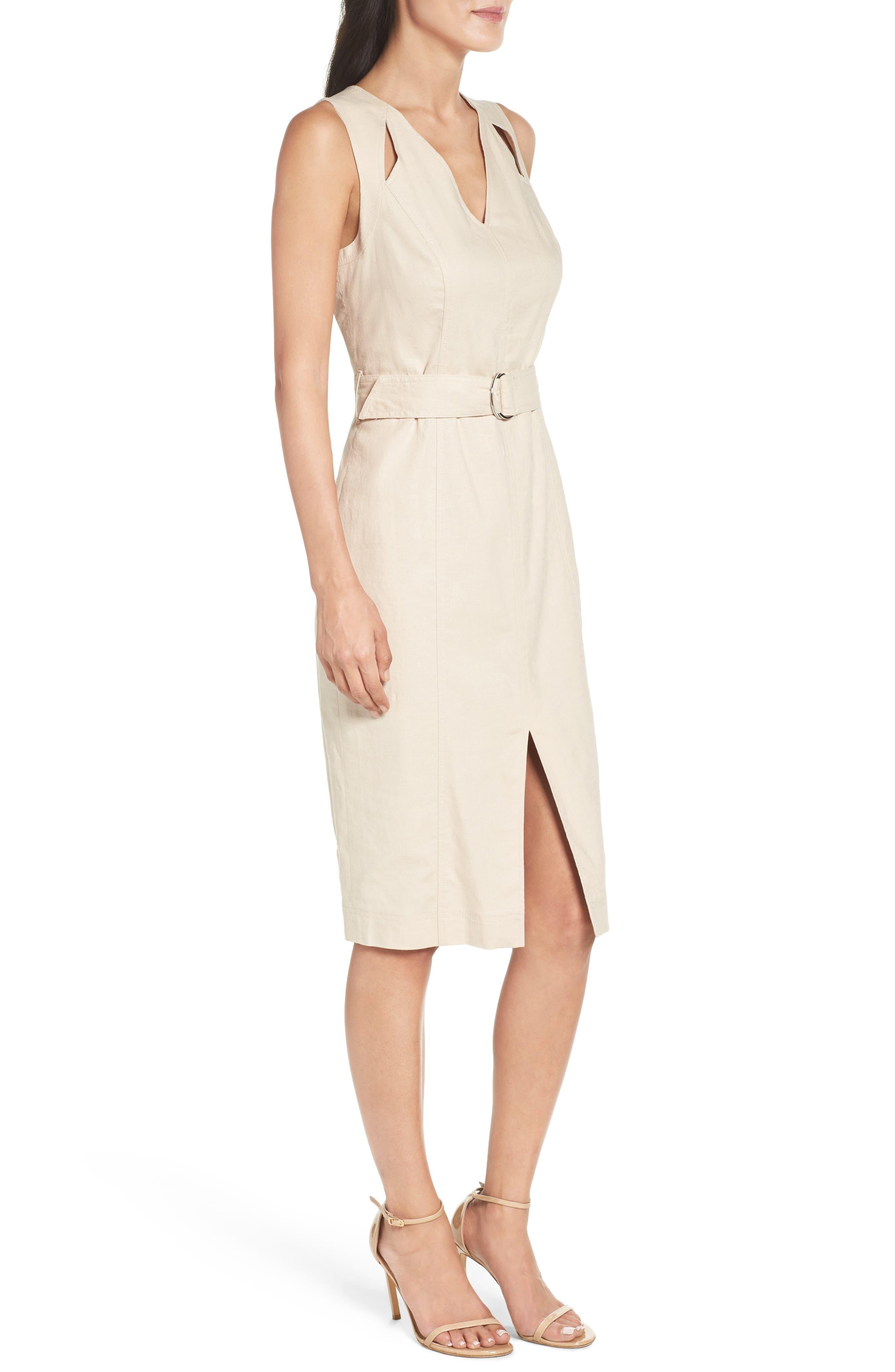 Belted Sheath Dress,                             Alternate thumbnail 3, color,                             253
