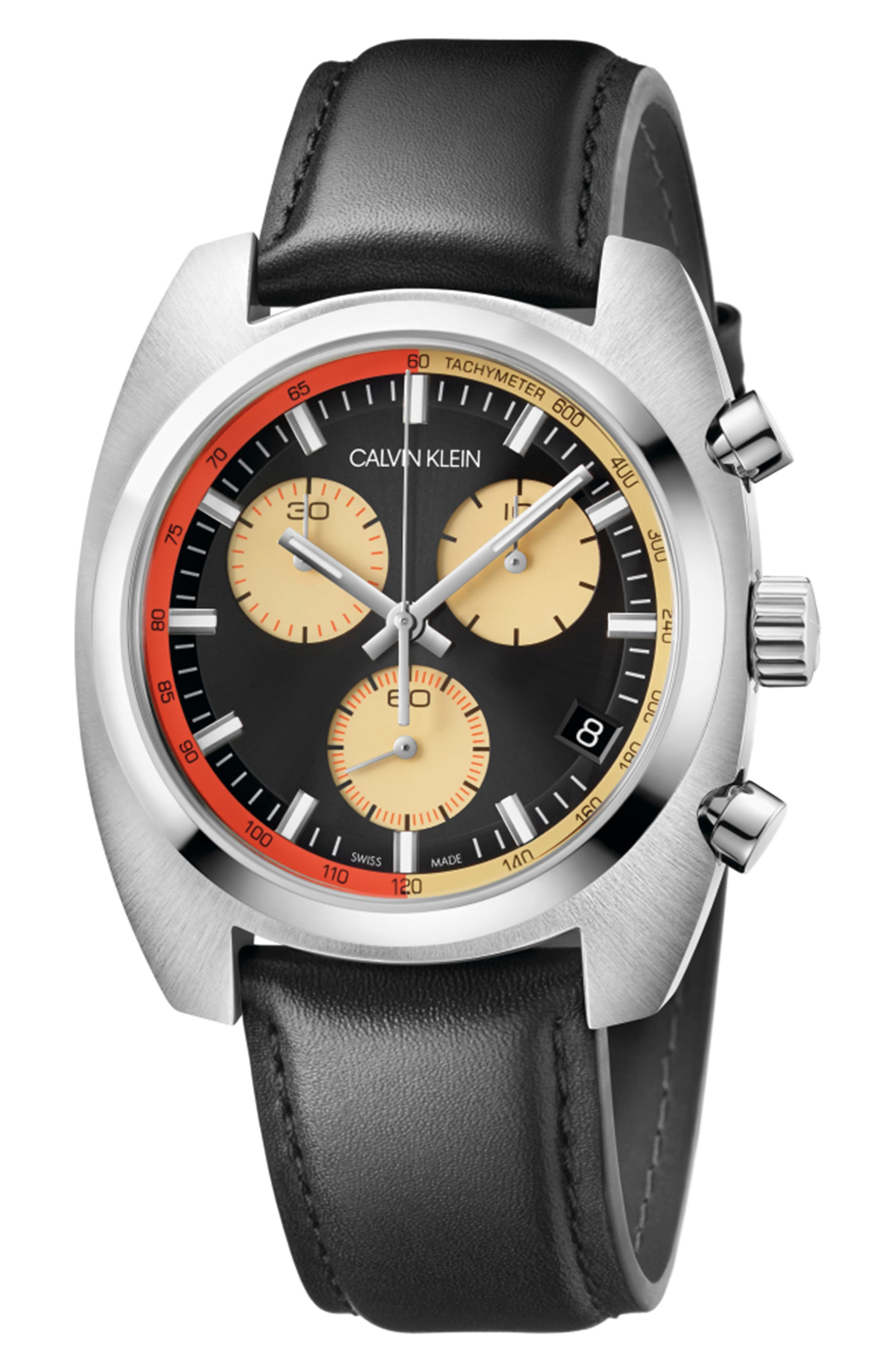 Achieve Chronograph Leather Band Watch, 43mm,                         Main,                         color, BLACK/ SILVER