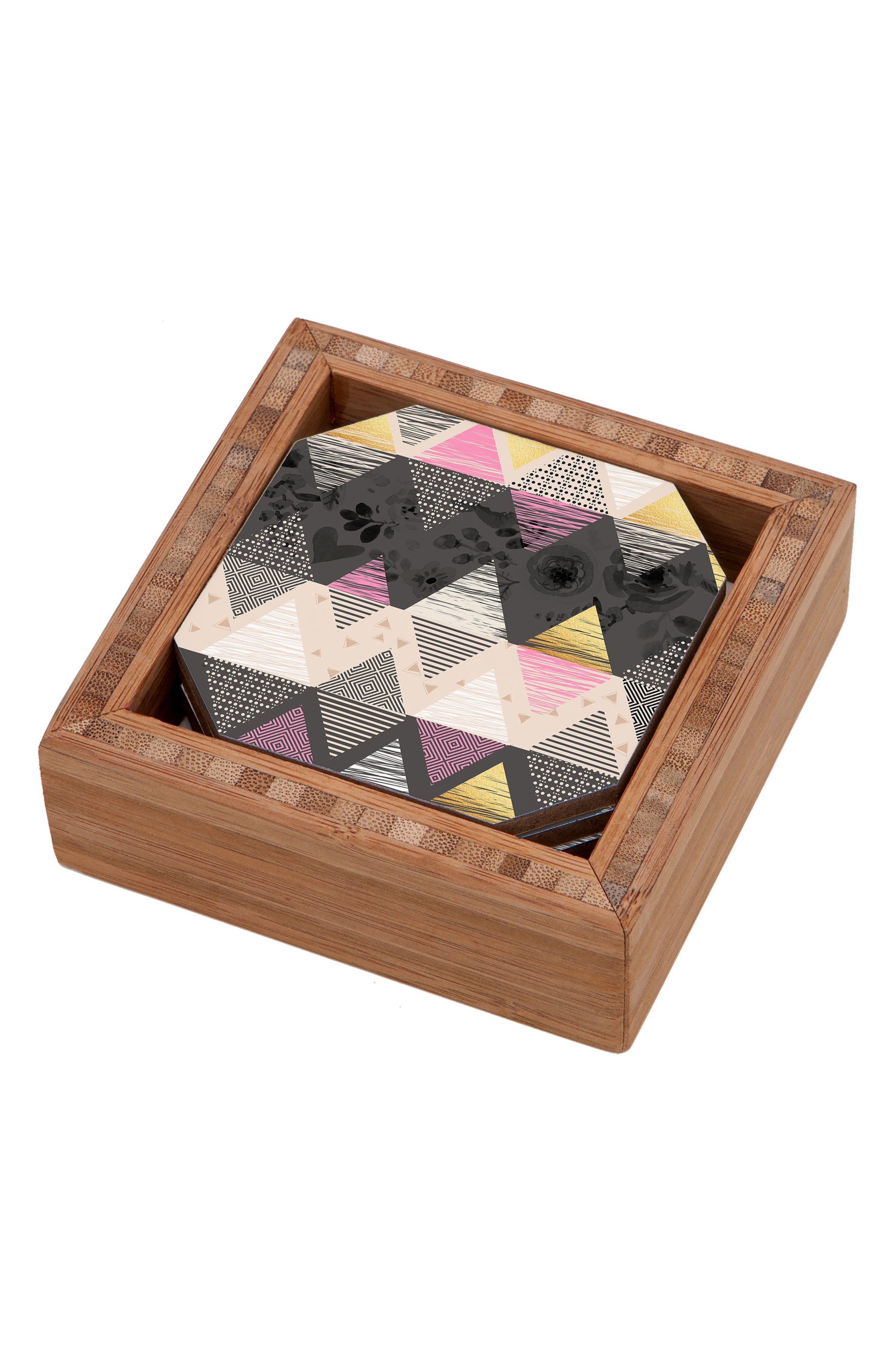 Geometric Set of 4 Coasters,                             Main thumbnail 1, color,                             001