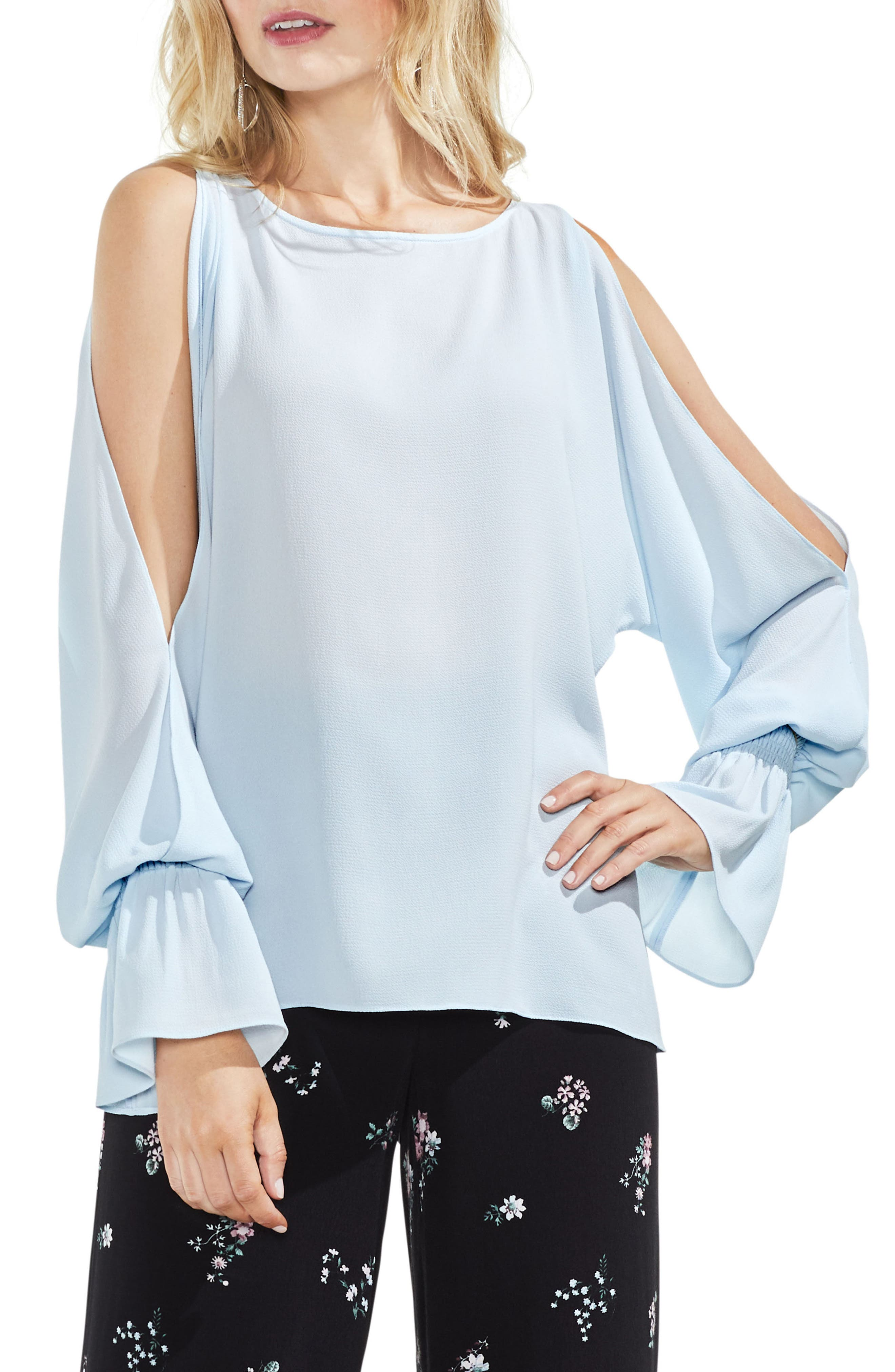 Cold Shoulder Flare Cuff Top,                             Main thumbnail 4, color,