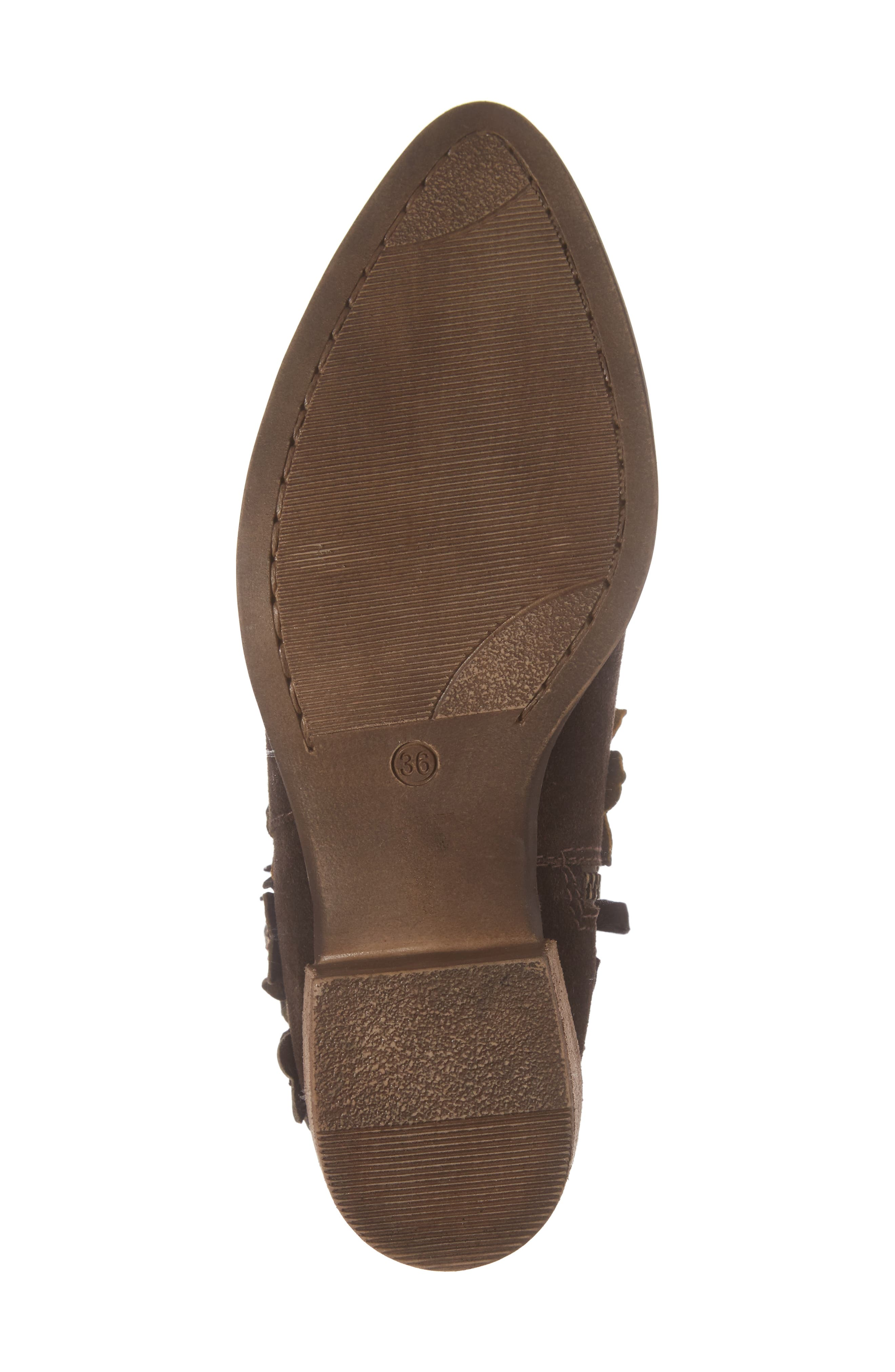 Sunflower Embellished Bootie,                             Alternate thumbnail 6, color,                             BROWN SUEDE
